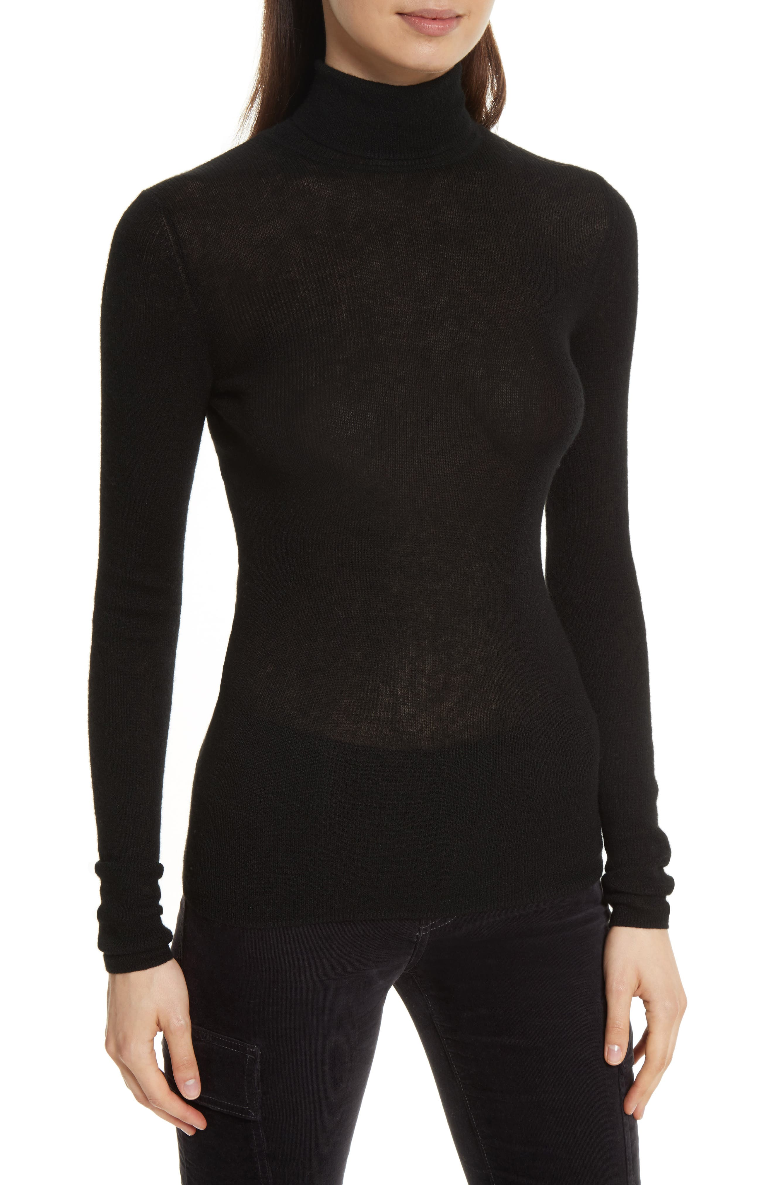 Ribbed Cashmere Turtleneck,                             Main thumbnail 1, color,                             001