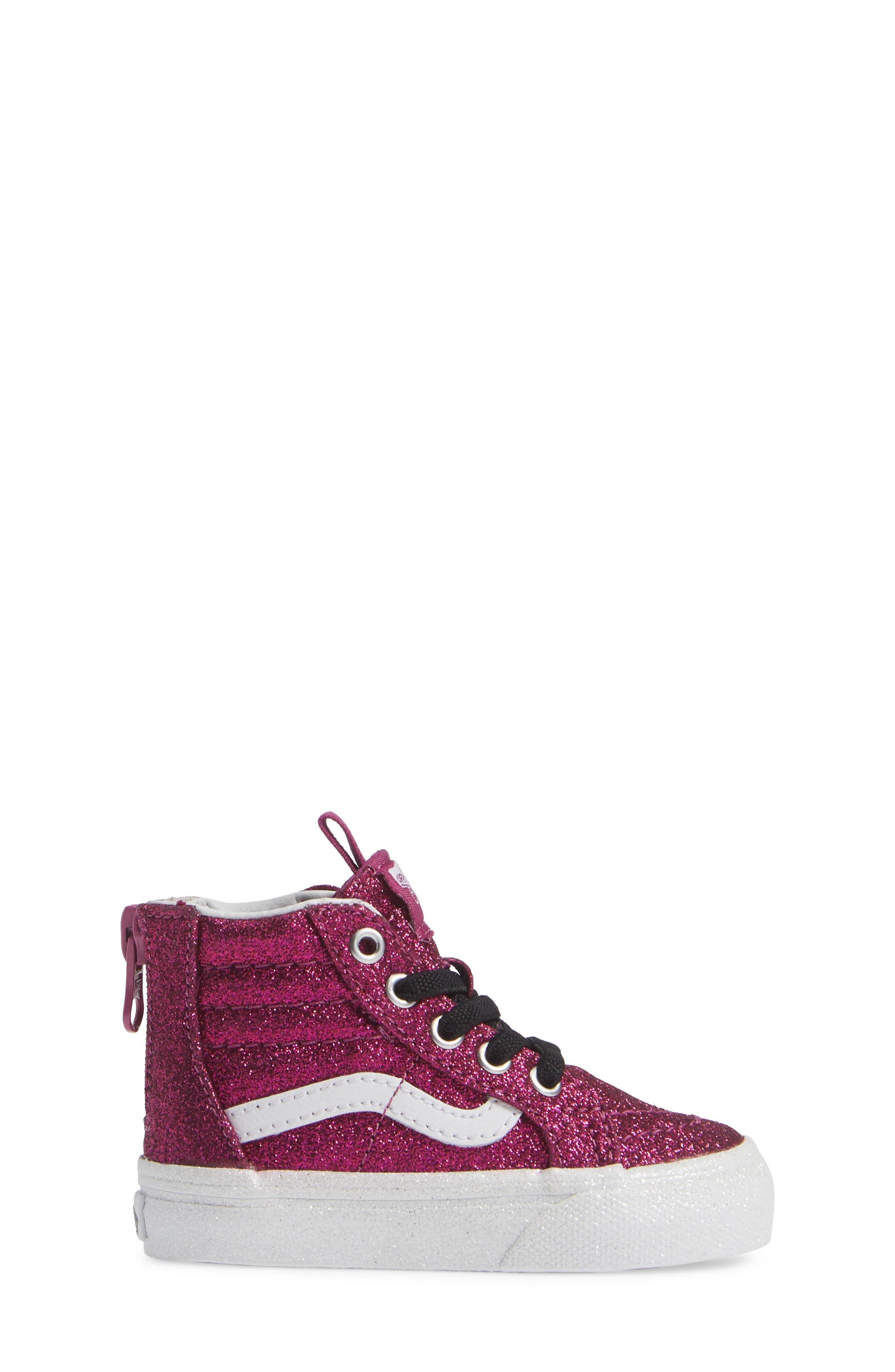 SK8-Hi Zip Sneaker,                             Alternate thumbnail 3, color,                             WILD ASTER/ TRUE WHITE