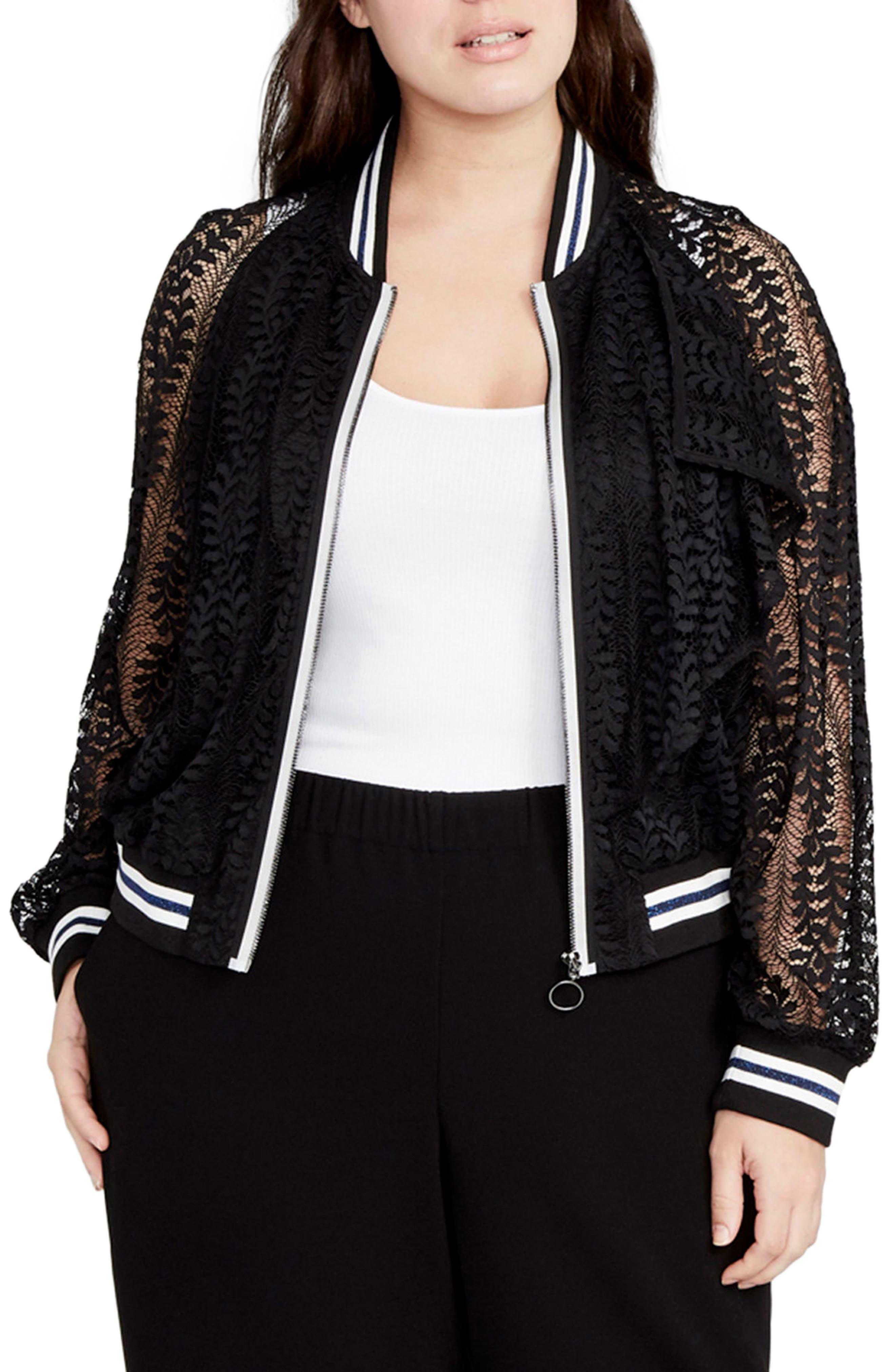 Lace Bomber Jacket,                         Main,                         color, 001