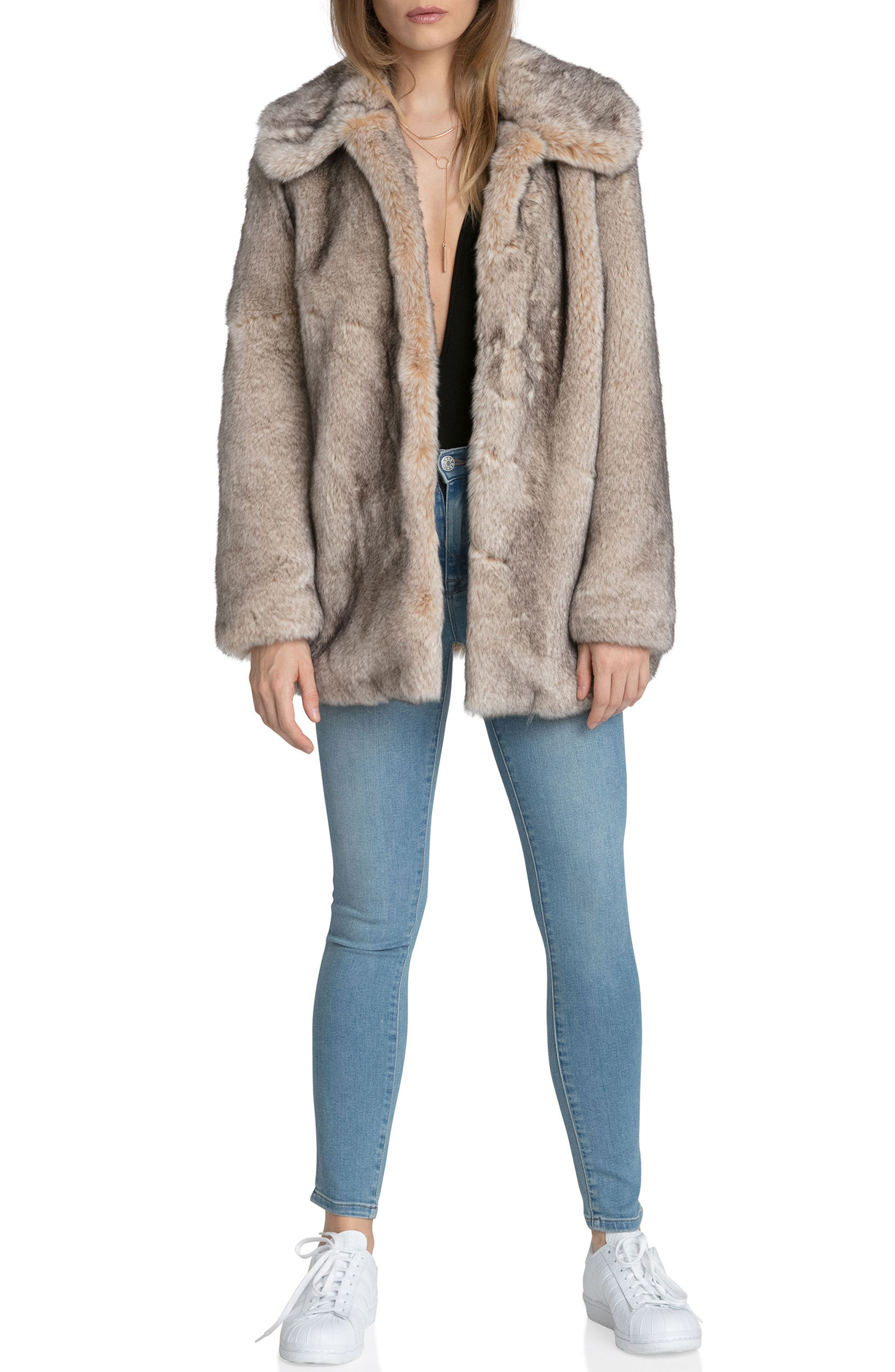 Faux Fur Swing Coat,                             Alternate thumbnail 4, color,                             257