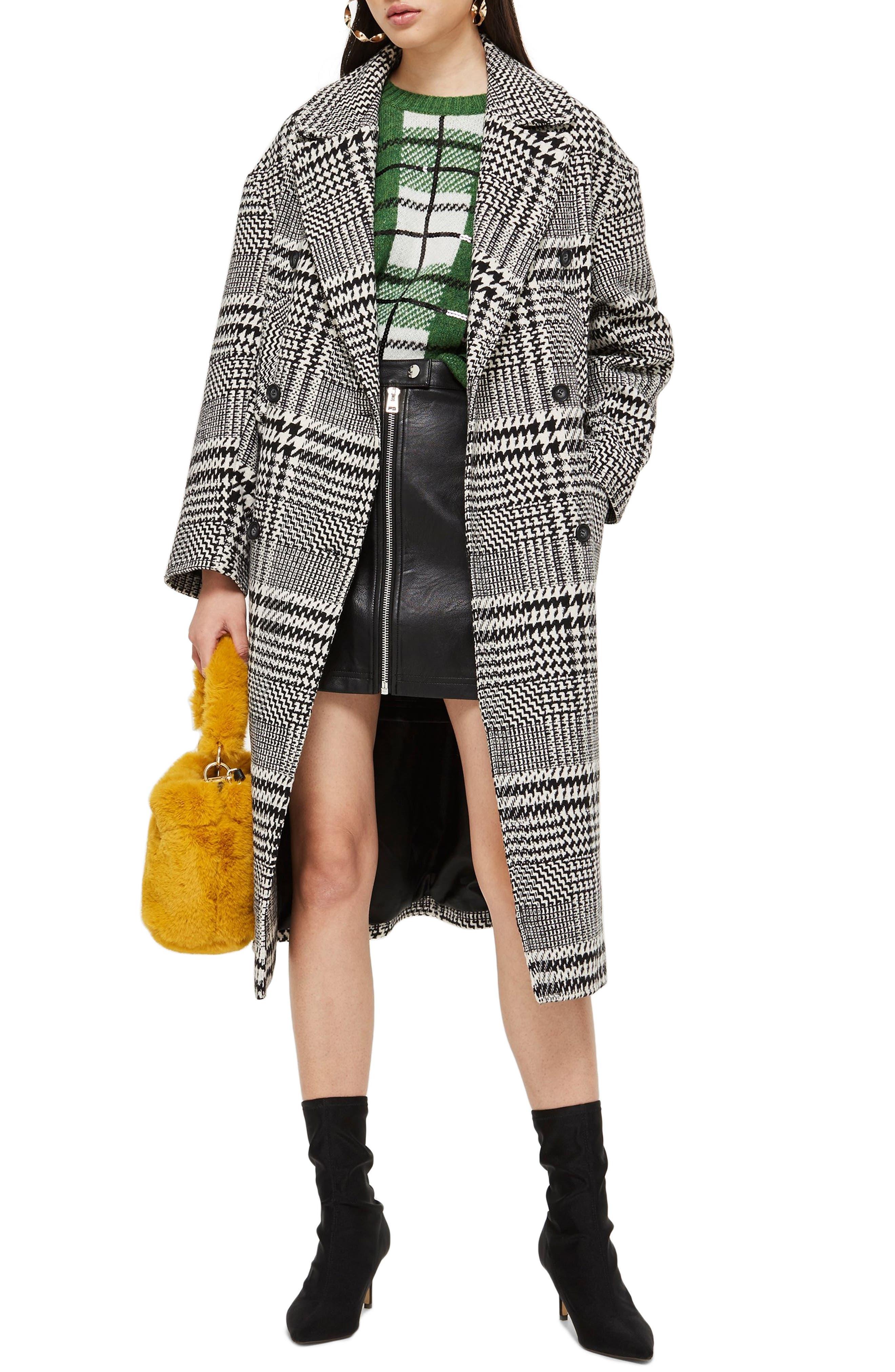 TOPSHOP Kim Check Coat, Main, color, BLACK MULTI