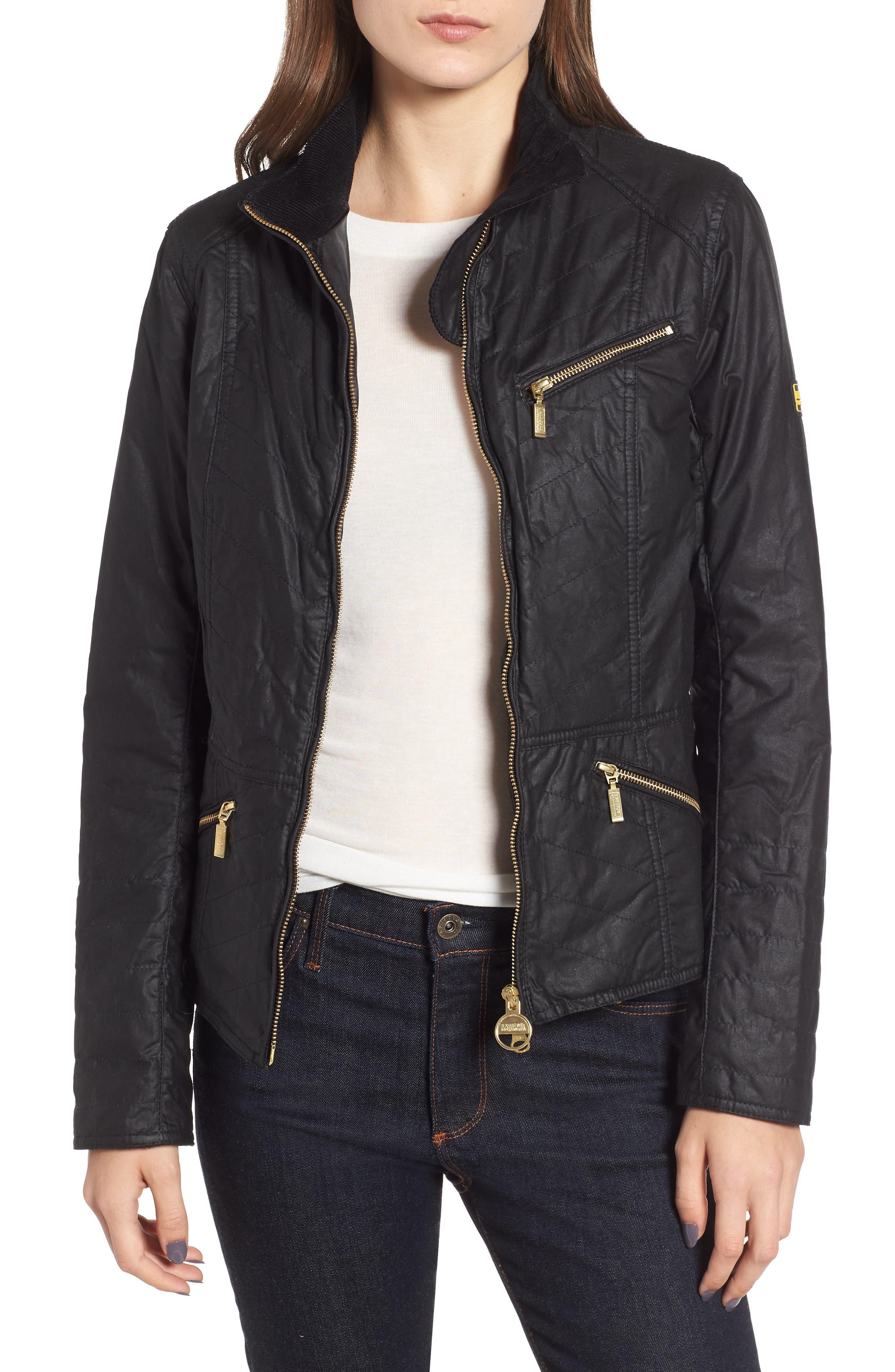 Barbour Backmarker Water Resistant Waxed Cotton Jacket, US / 8 UK - Black