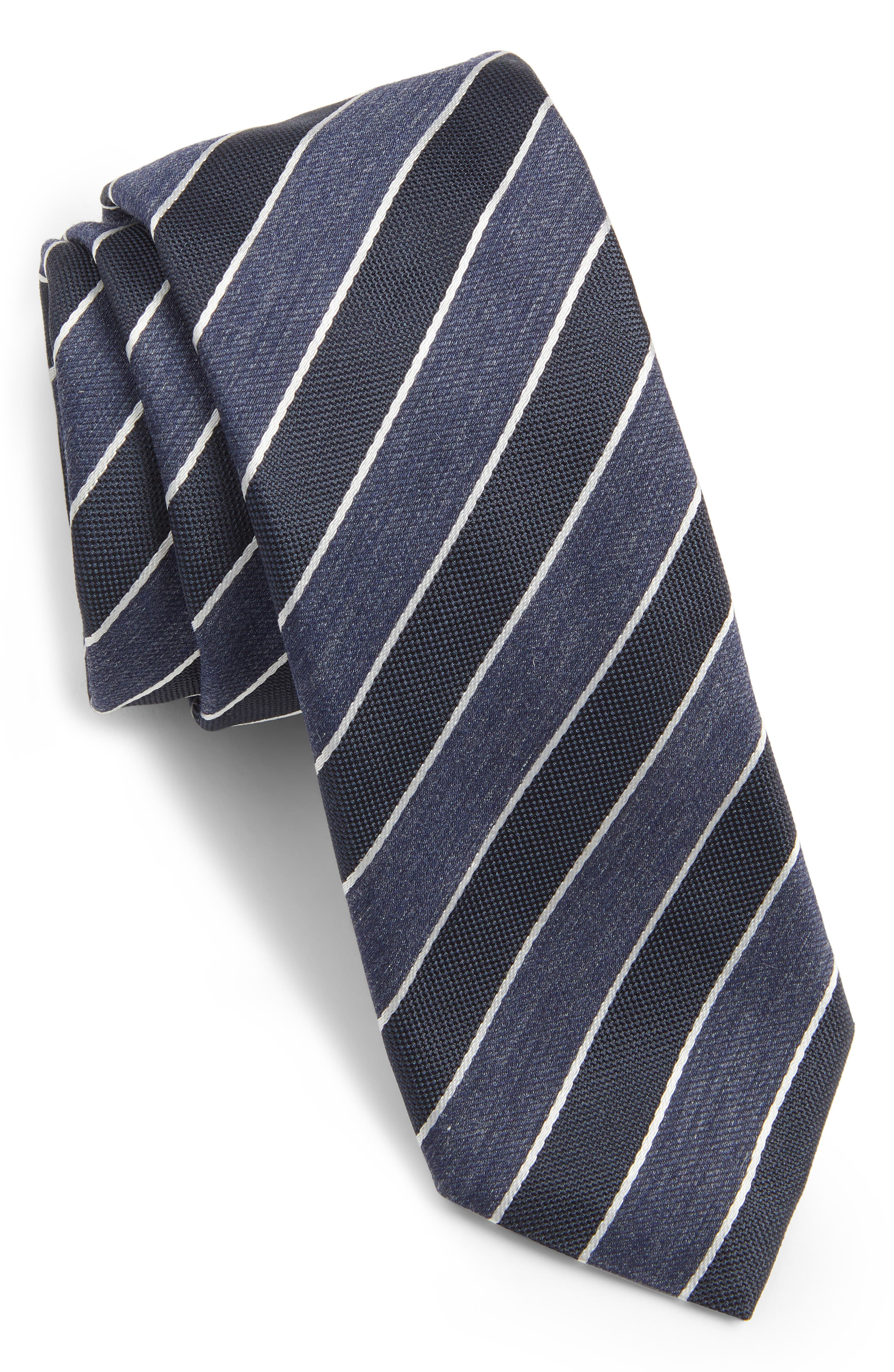 Stripe Silk Blend Tie,                         Main,                         color, OPEN BLUE