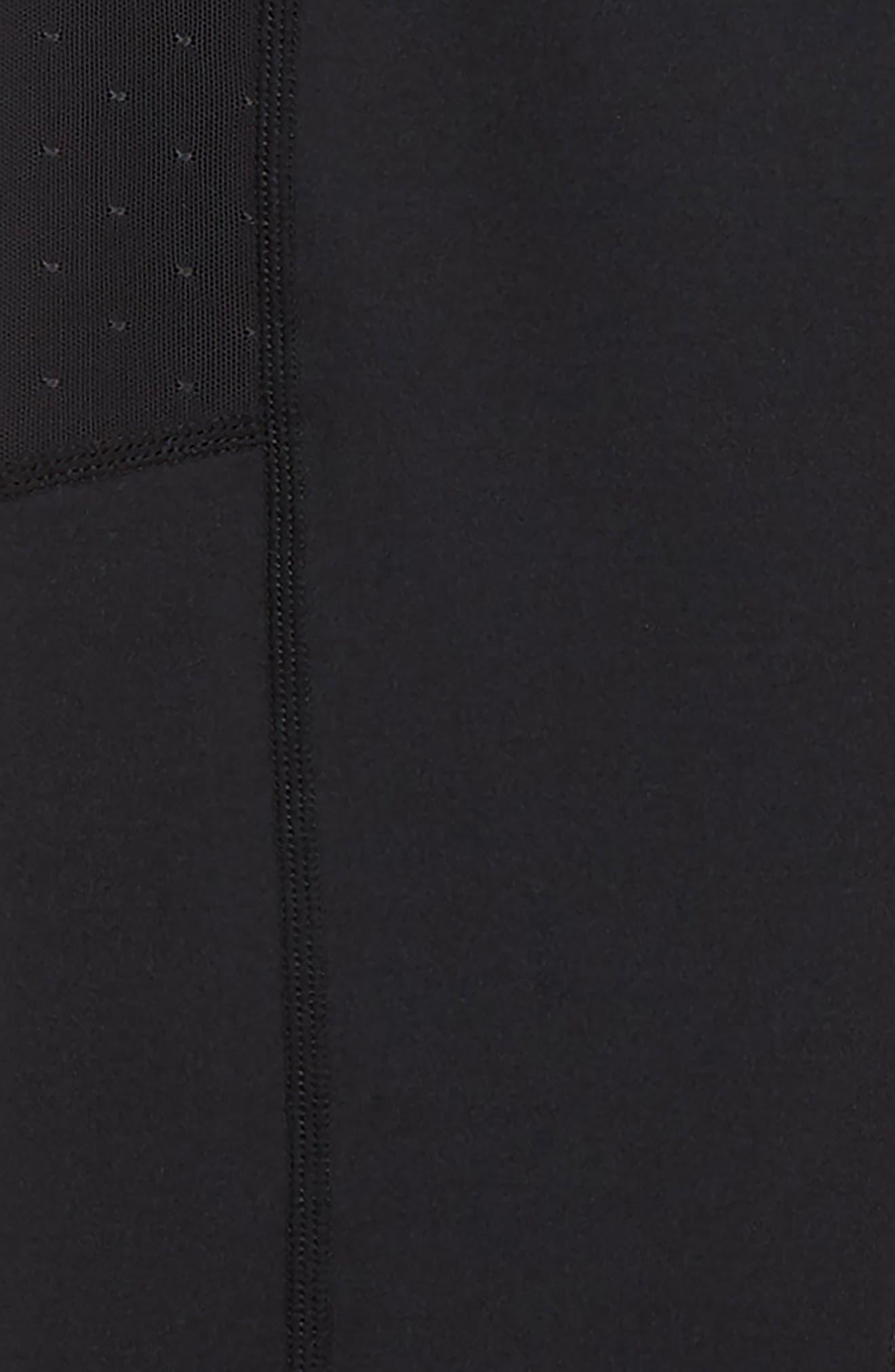 High Waist Mesh Pocket Leggings,                             Alternate thumbnail 2, color,                             BLACK