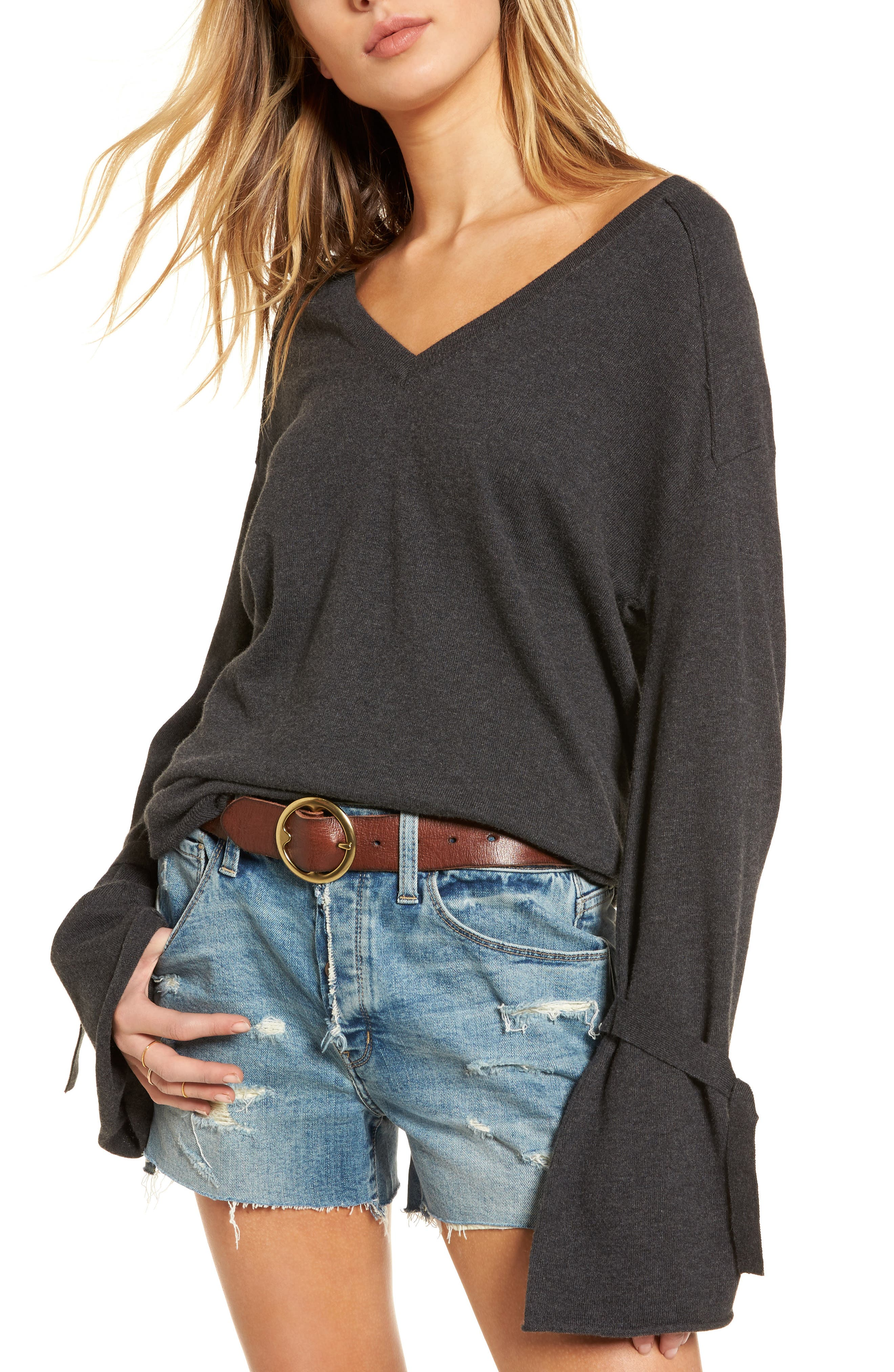 Tie Bell Sleeve Top,                             Main thumbnail 1, color,                             020
