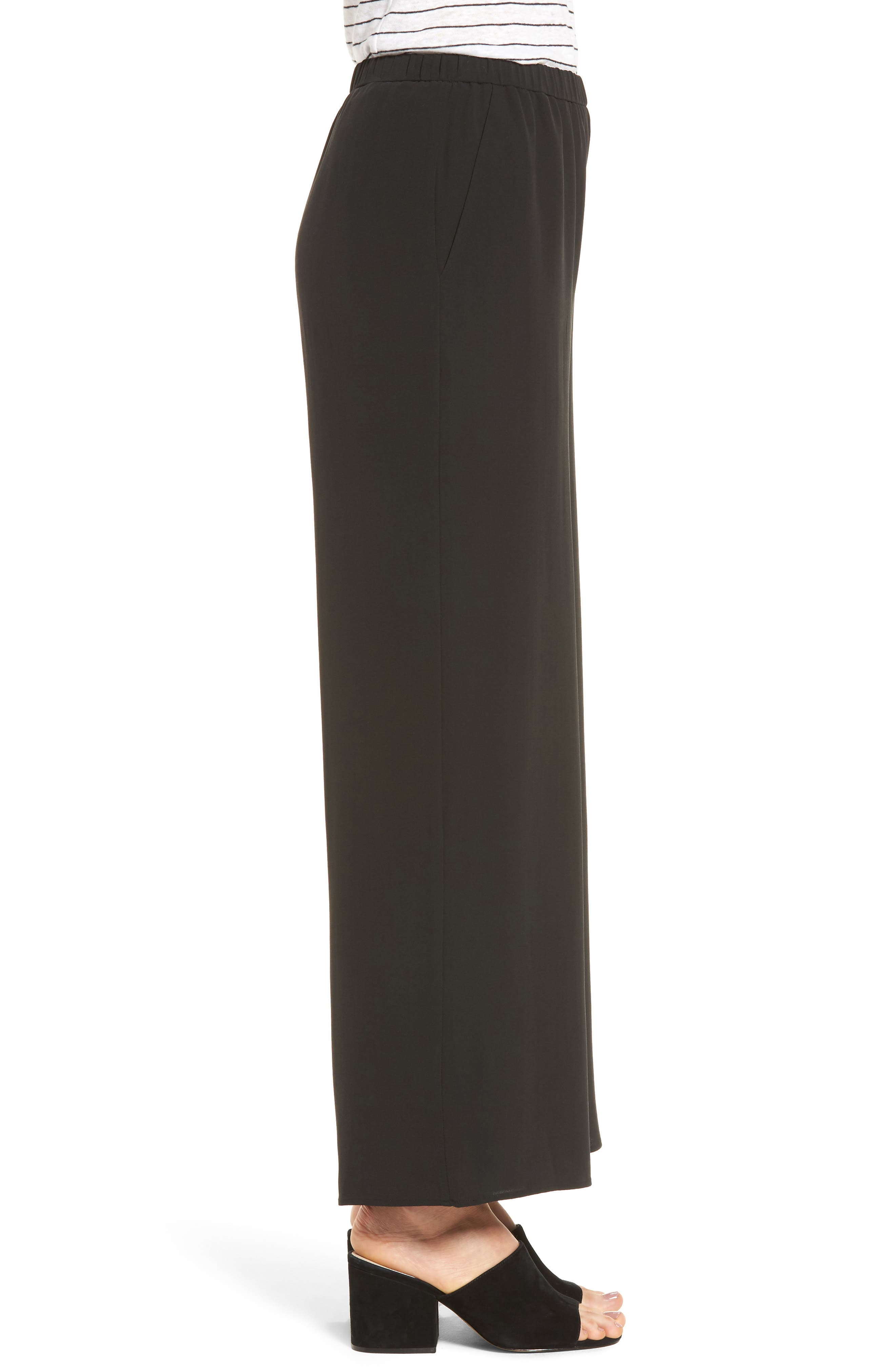 Wide Leg Silk Pants,                             Alternate thumbnail 3, color,                             001