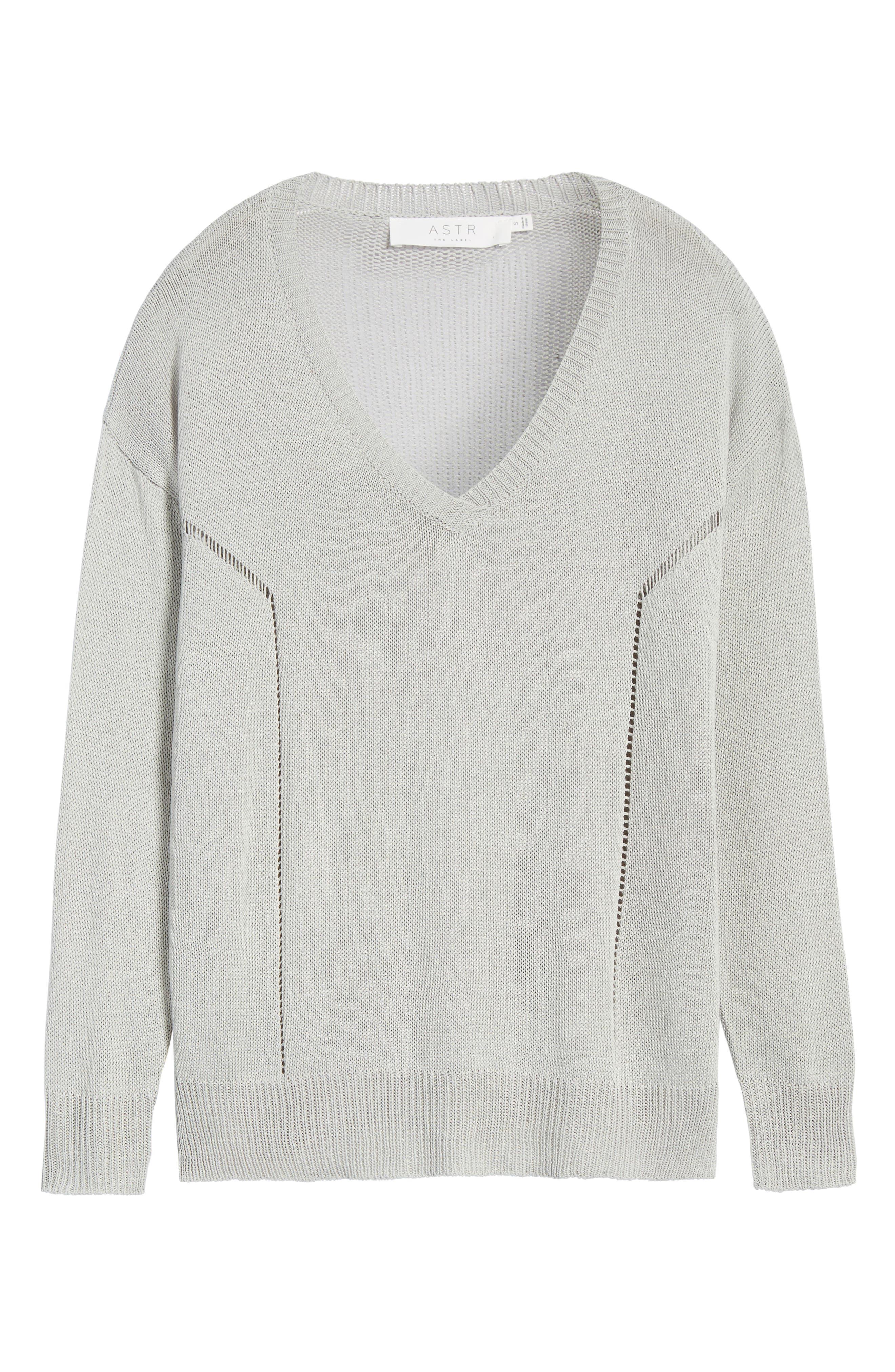 Open Lines V-Neck Sweater,                             Alternate thumbnail 6, color,                             020
