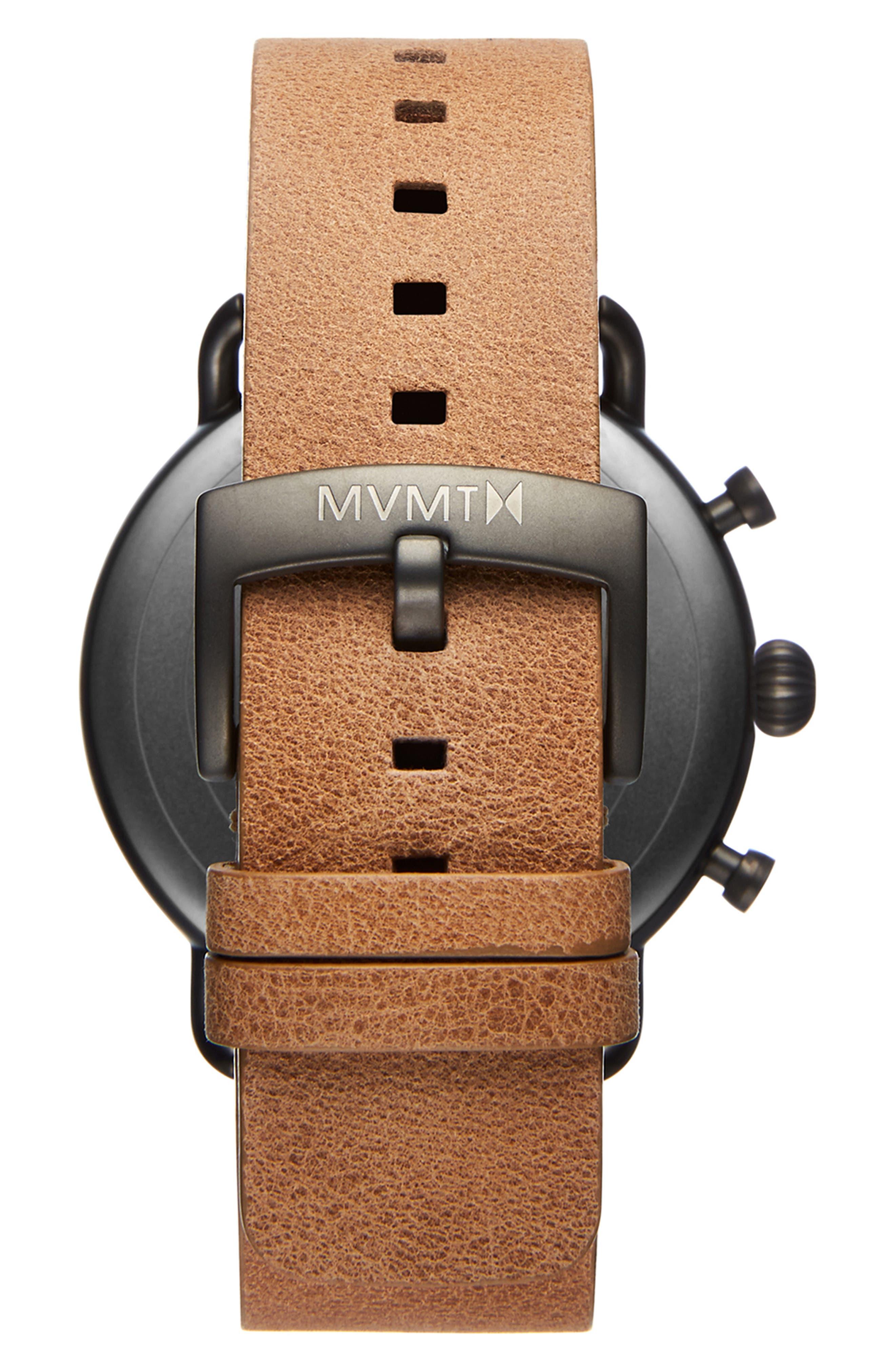 Blacktop Chronograph Leather Strap Watch,                             Alternate thumbnail 2, color,                             WHITE/ CARAMEL