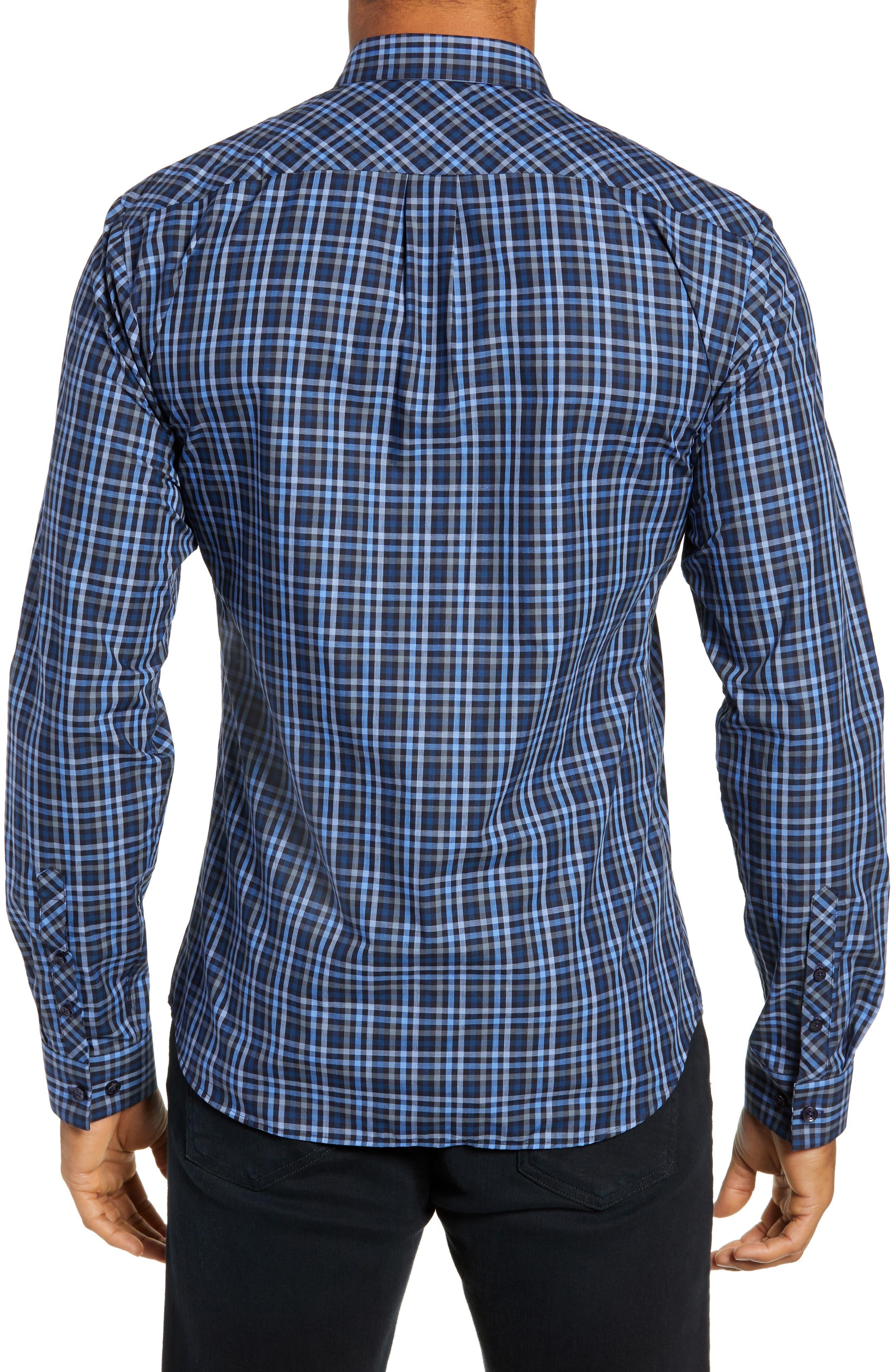 Trim Fit Sport Shirt,                             Alternate thumbnail 3, color,                             NAVY - BLUE MULTI CHECK