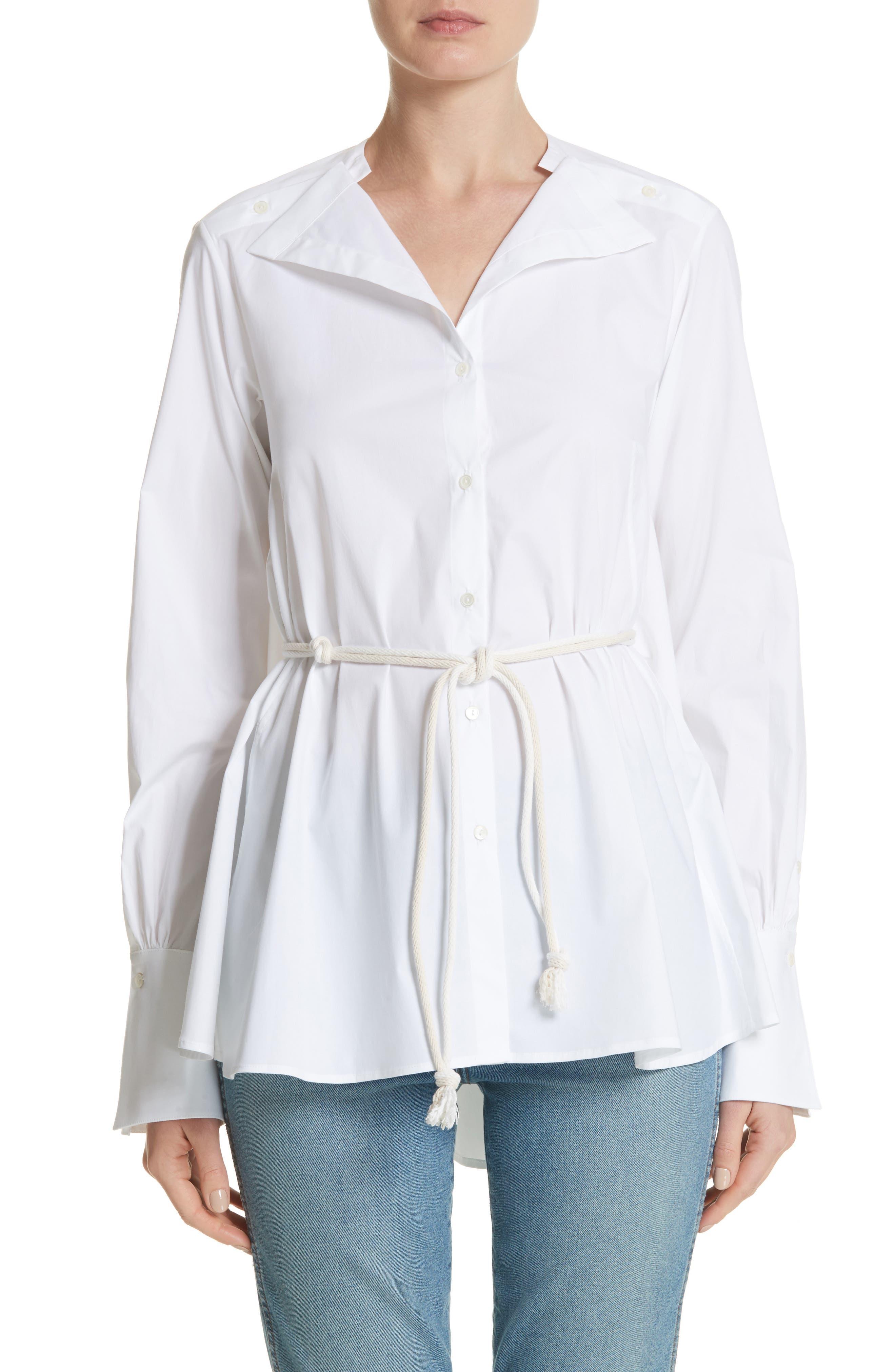 Portrait Open Collar Shirt,                         Main,                         color, WHITE