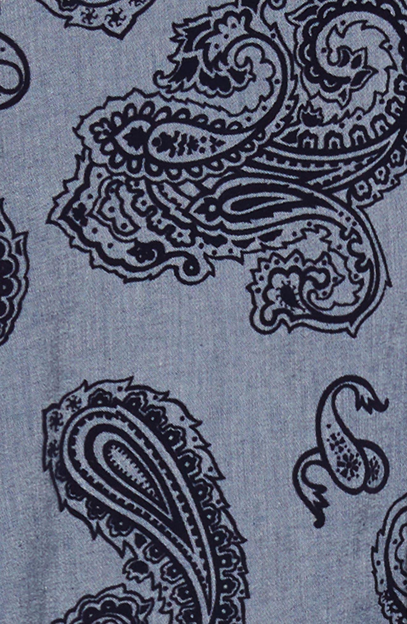 Trim Fit Sport Shirt,                             Alternate thumbnail 6, color,                             BLUE PAISLEY FLOCKING