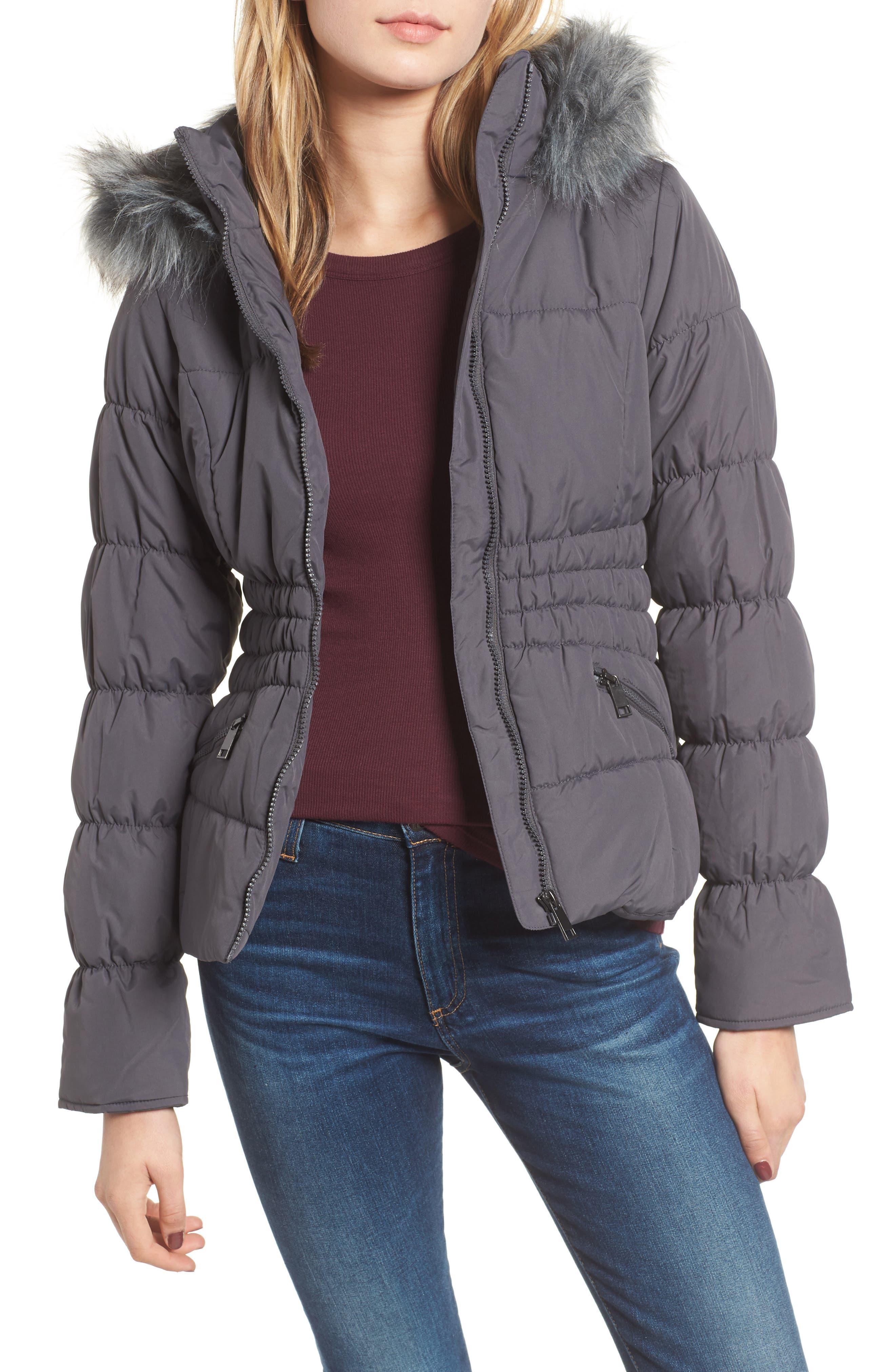 Maralyn & Me Faux Fur Trim & Fleece Lined Puffer Jacket