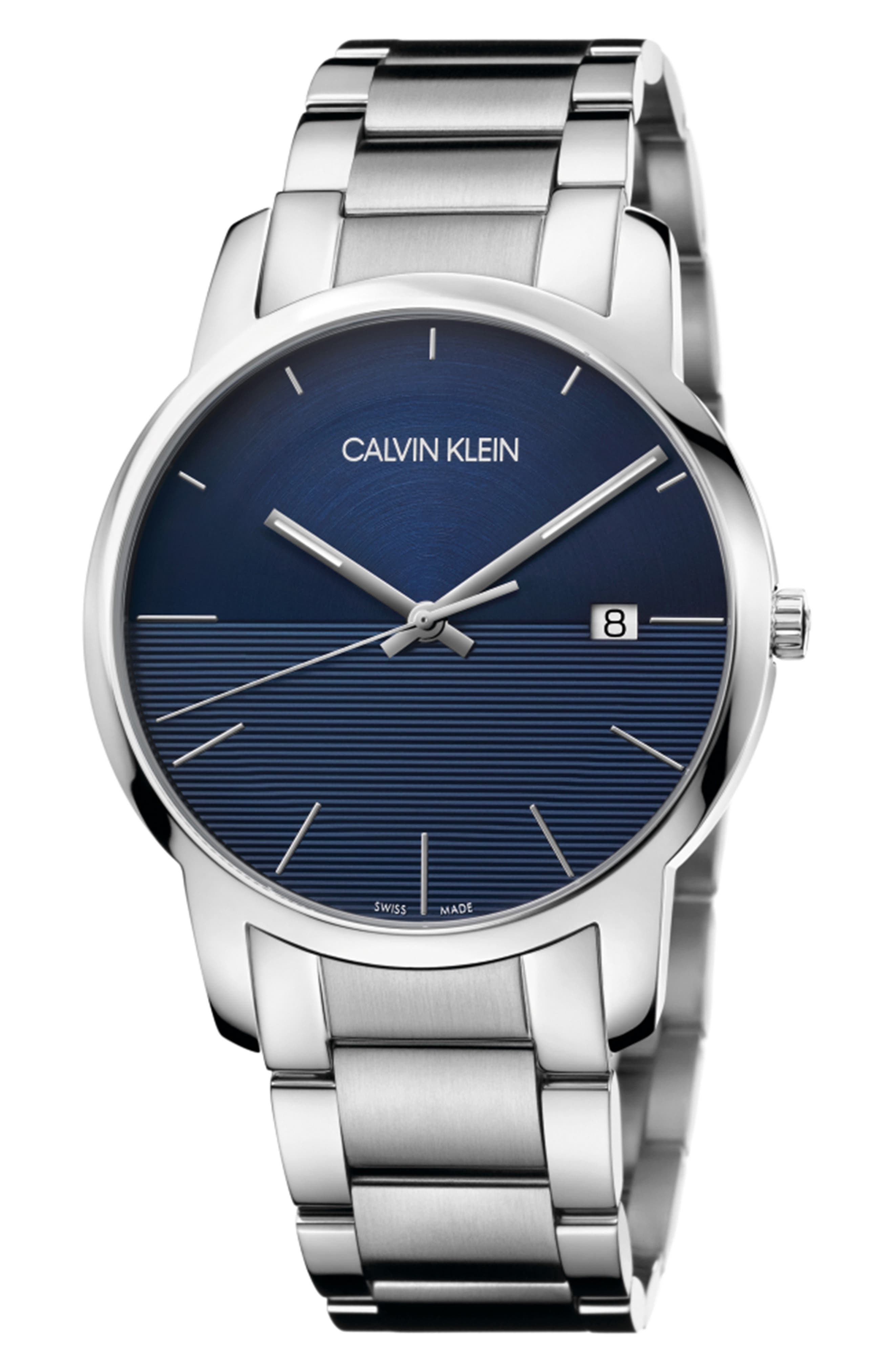 City Bracelet Watch, 43mm,                             Main thumbnail 1, color,                             SILVER/ BLUE/ SILVER