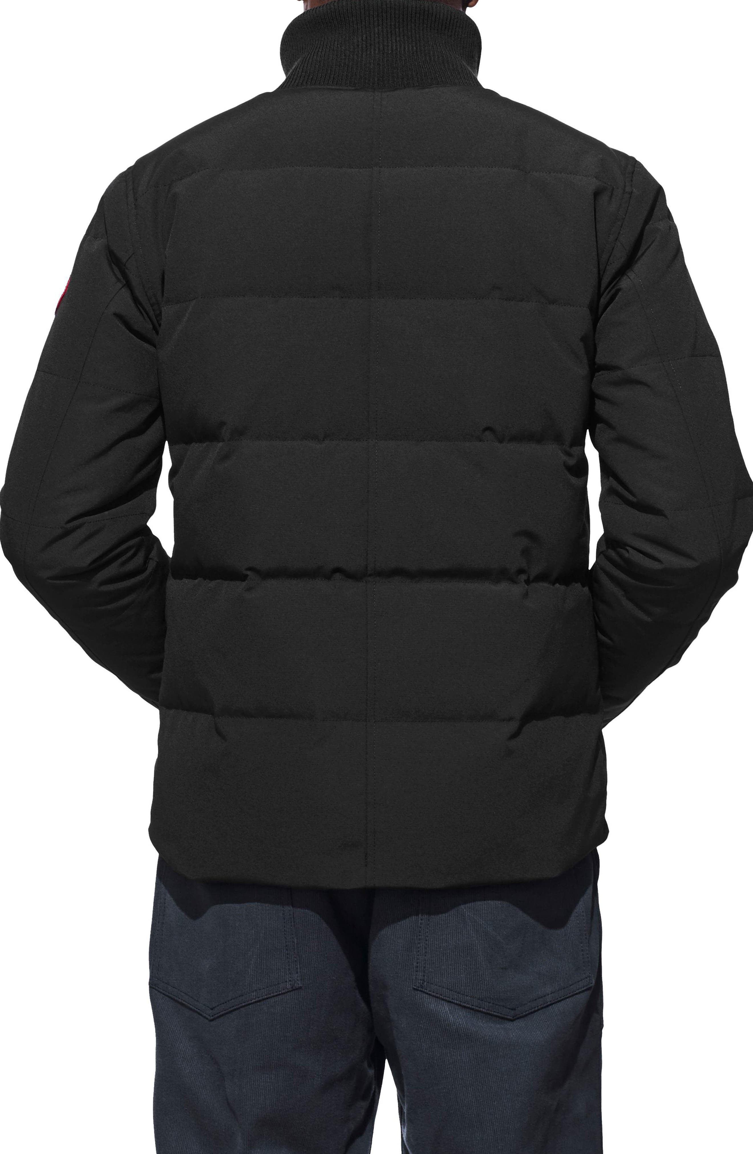 'Woolford' Slim Fit Down Bomber Jacket,                             Alternate thumbnail 2, color,                             BLACK