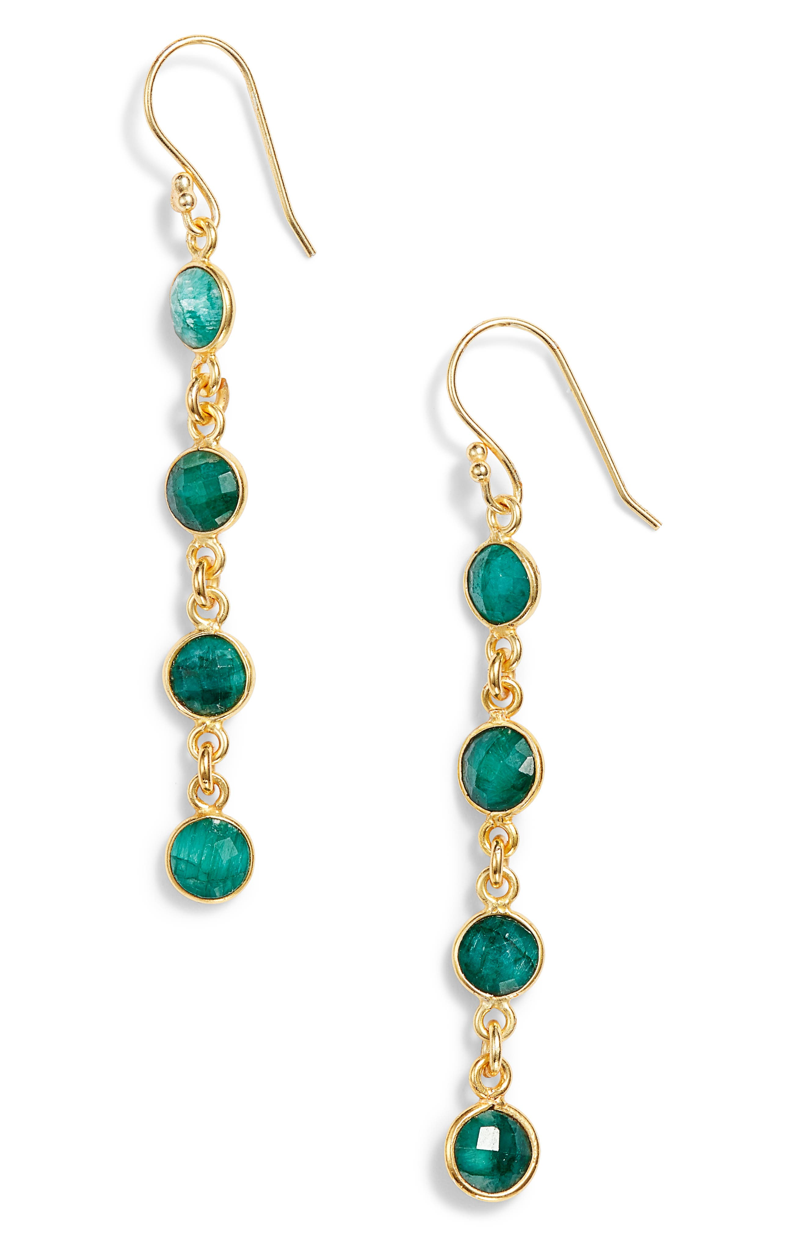 Stone Drop Earrings,                             Main thumbnail 1, color,                             EMERALD