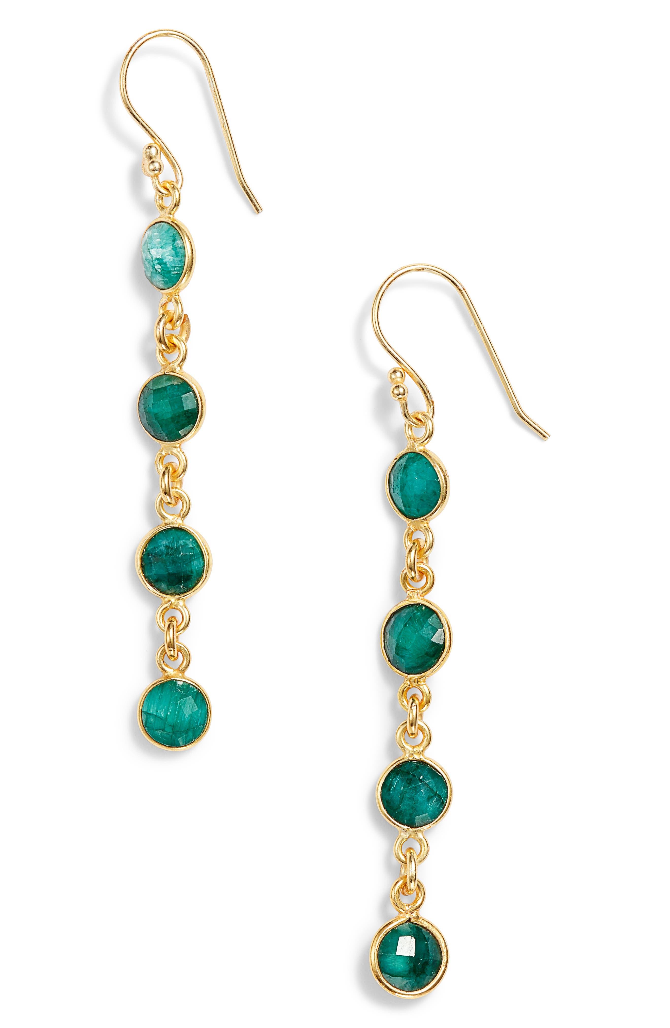 Stone Drop Earrings,                         Main,                         color, EMERALD