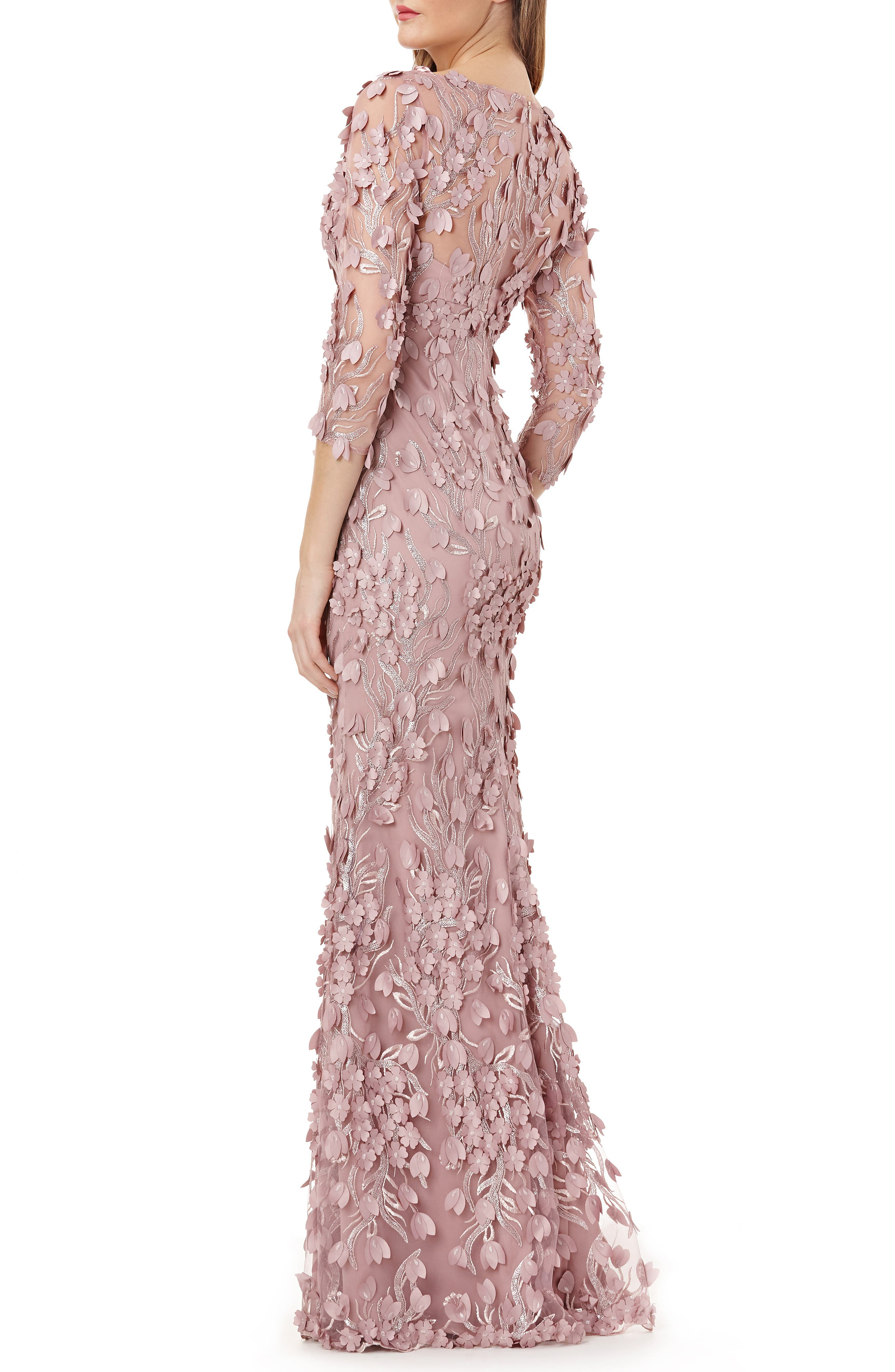3D Novelty Gown,                             Alternate thumbnail 2, color,                             DUSTY ROSE
