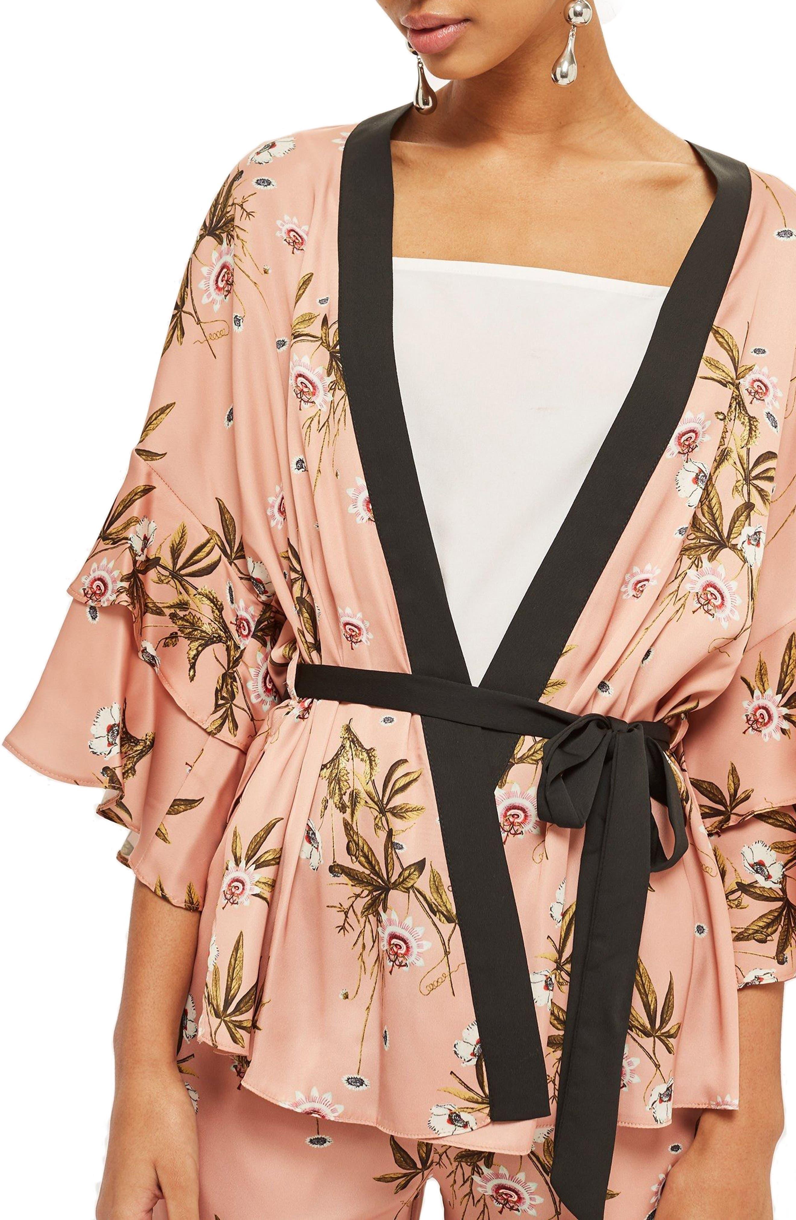 Penel Frill Floral Kimono,                         Main,                         color, BLUSH