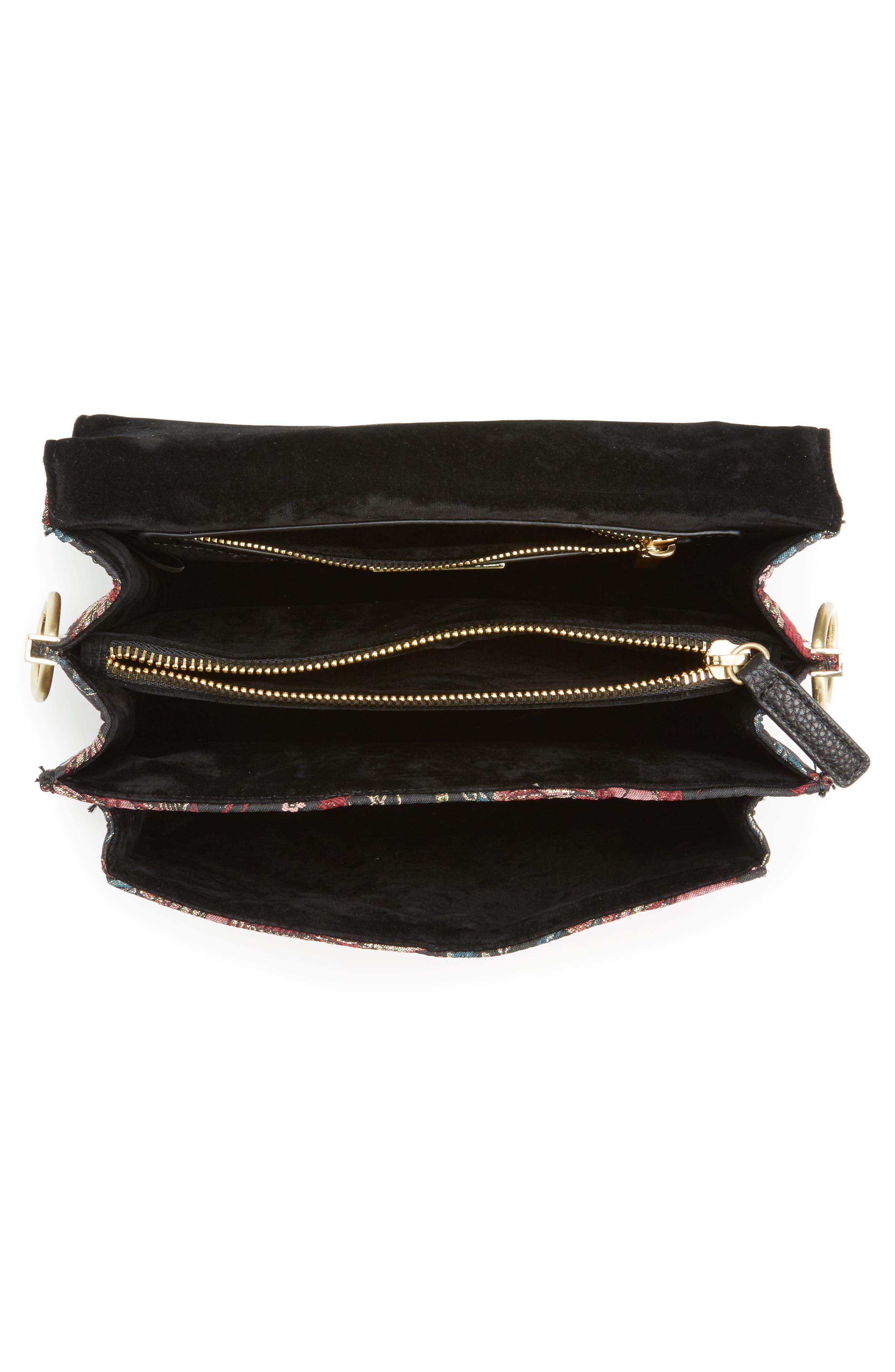 Gessica Jacquard Shoulder Bag,                             Alternate thumbnail 4, color,                             001