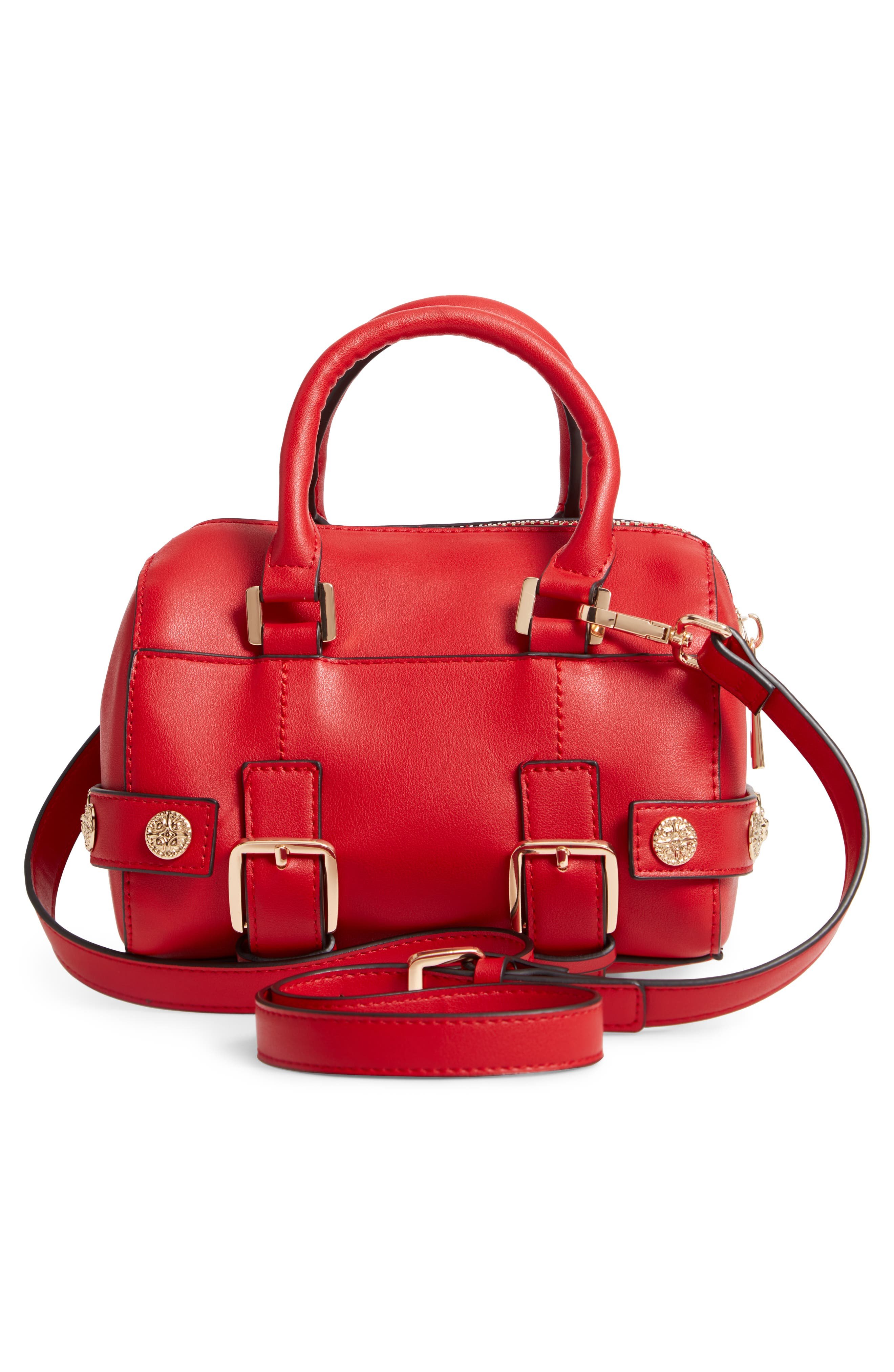 Bianca Studded Faux Leather Bowler Bag,                             Alternate thumbnail 3, color,                             RED MULTI