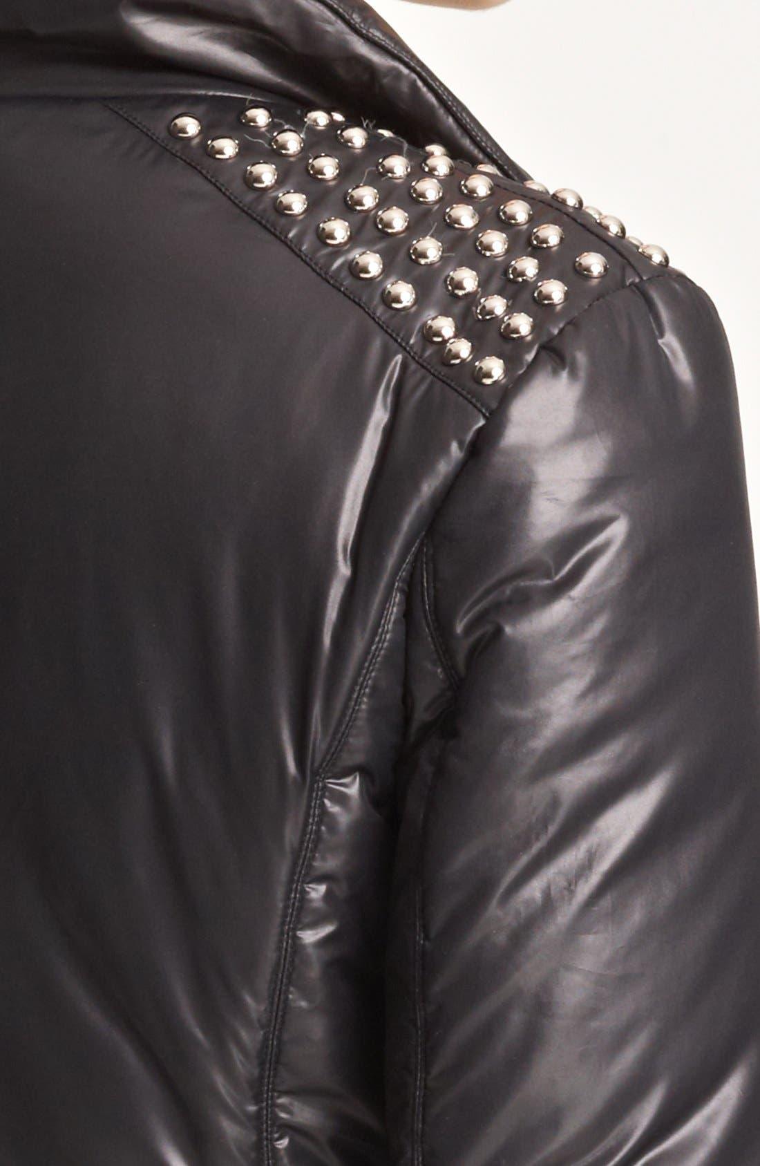 Cheap & Chic Moto Puffer Jacket,                             Alternate thumbnail 4, color,                             001