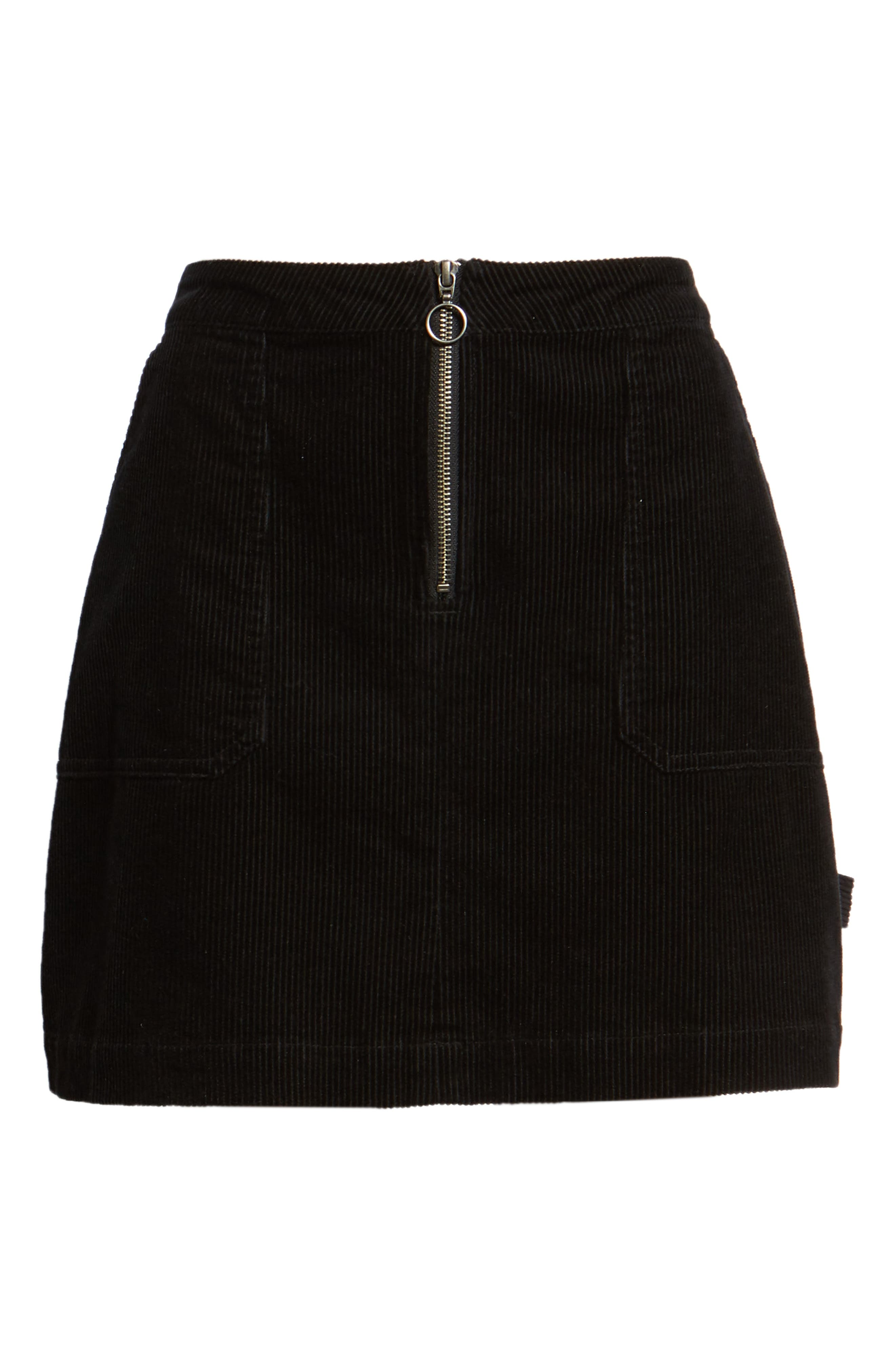 Corduroy Utility Skirt,                             Alternate thumbnail 6, color,                             BLACK