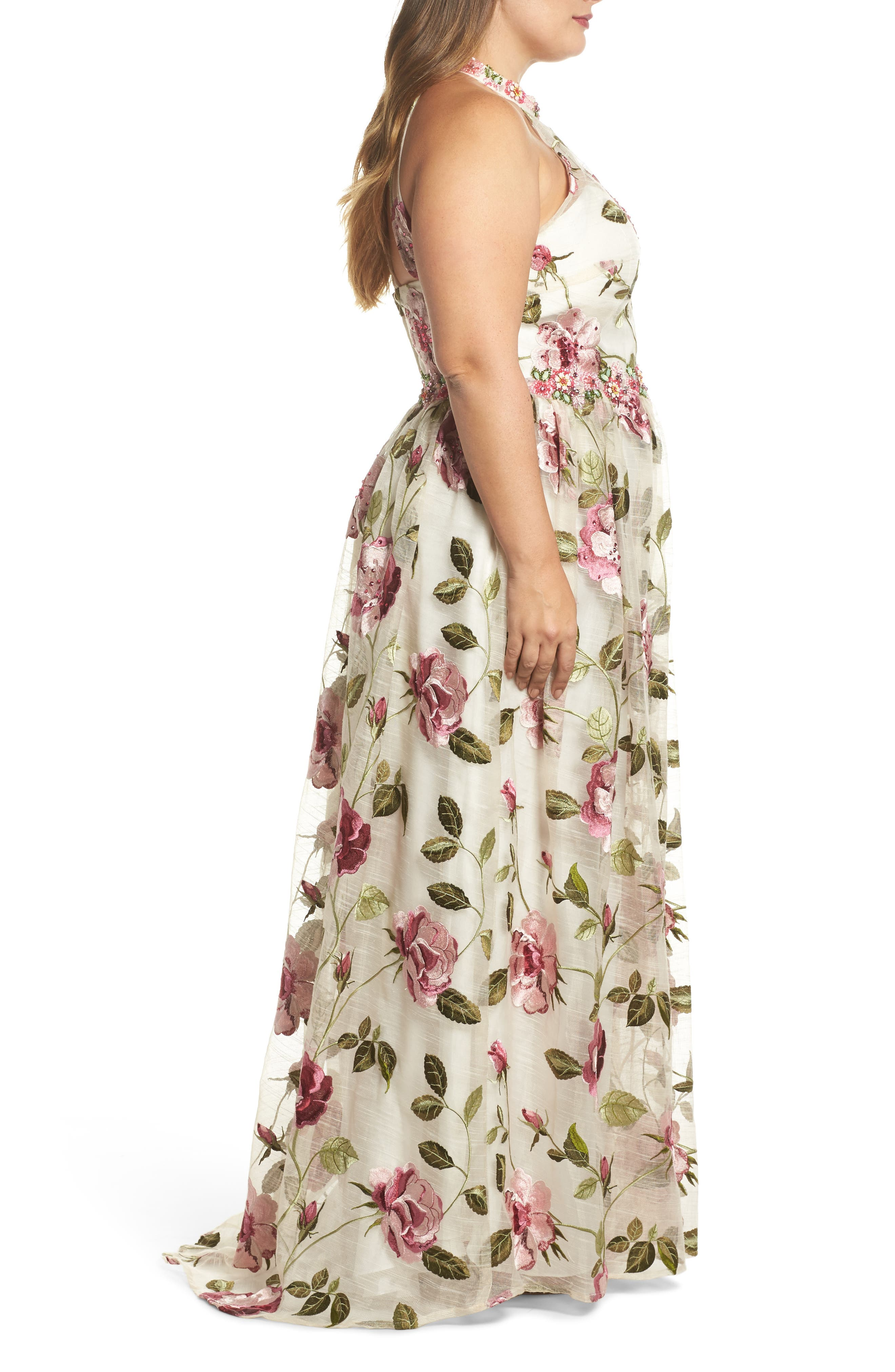 Floral Halter Gown,                             Alternate thumbnail 3, color,                             IVORY FLORAL