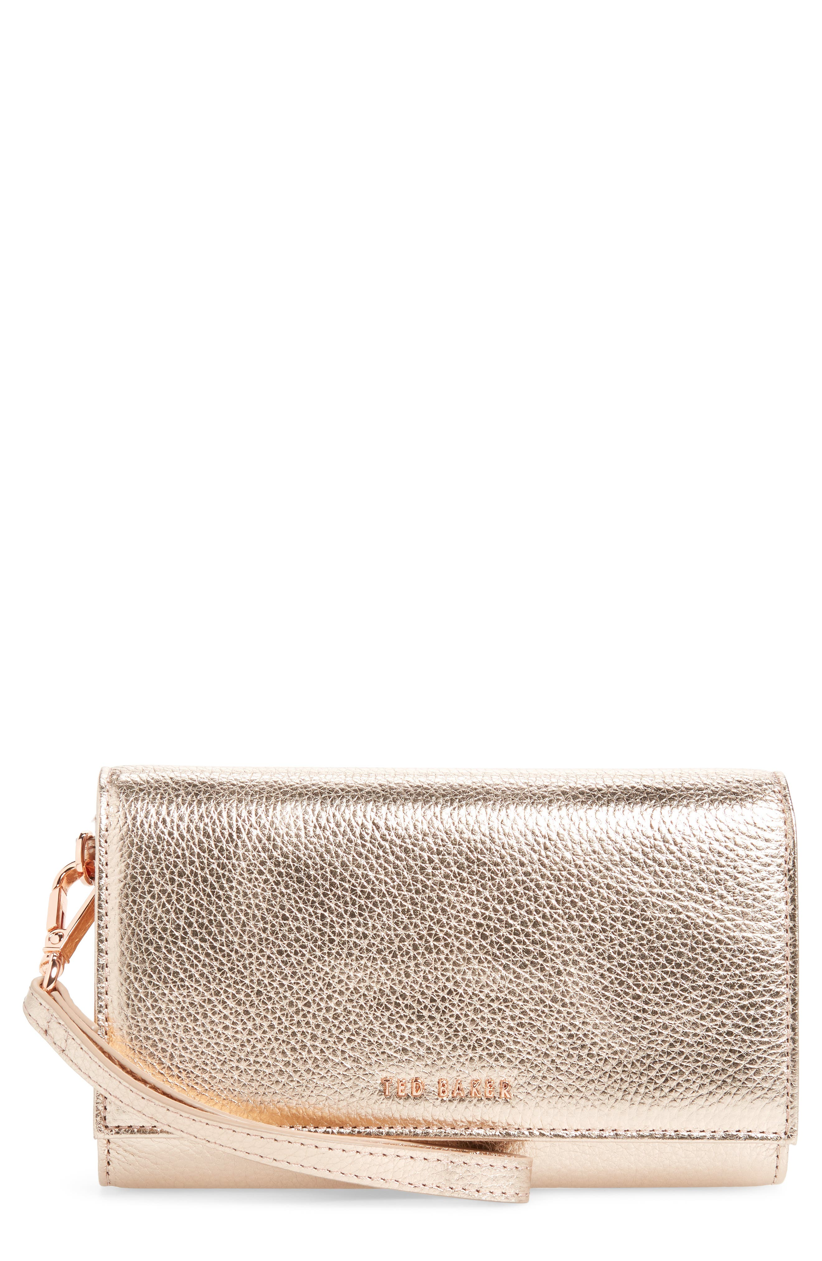 Holli French Leather Wallet,                         Main,                         color, ROSE GOLD