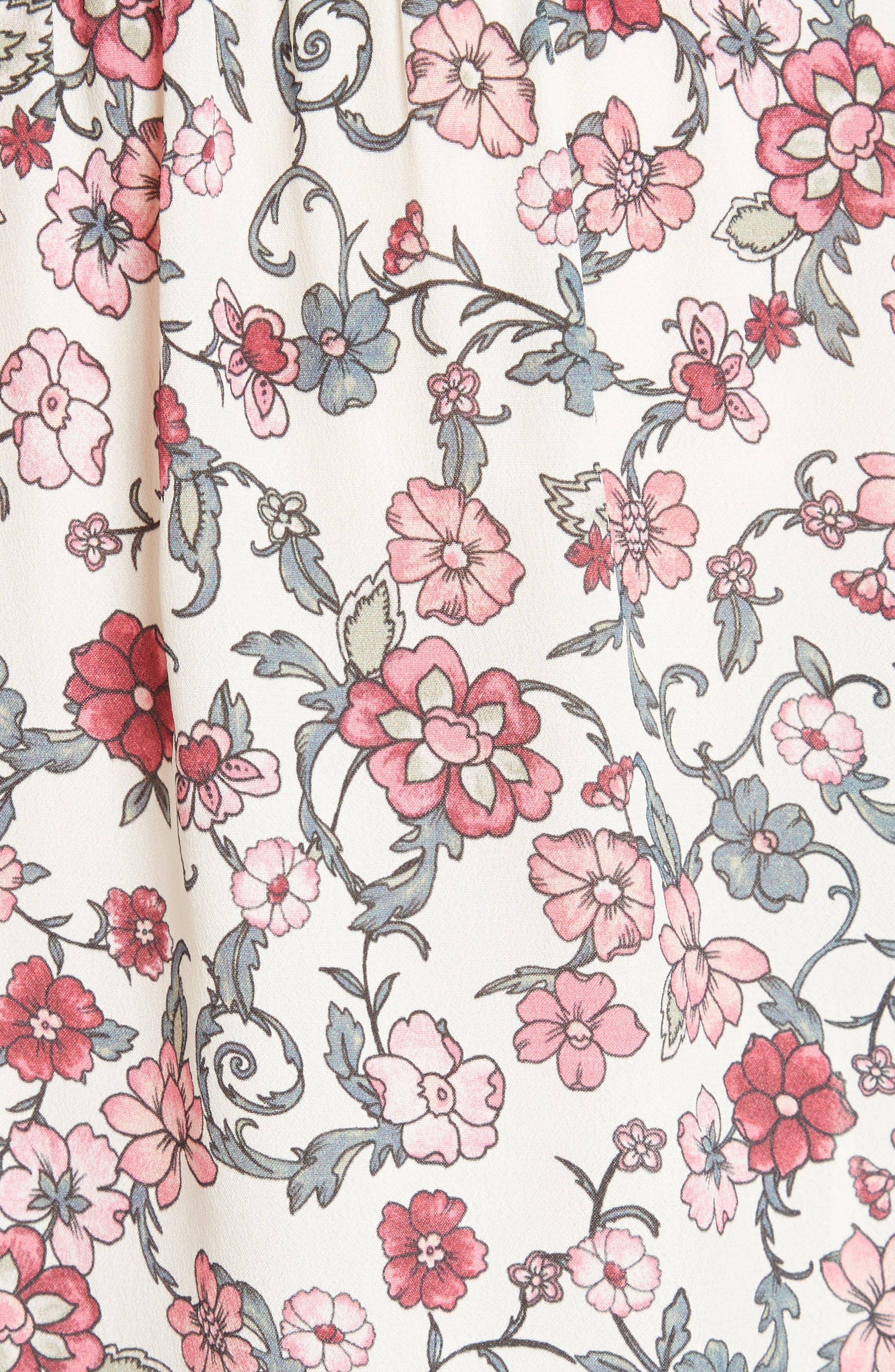 Floral Tie Neck Blouse,                             Alternate thumbnail 5, color,                             650