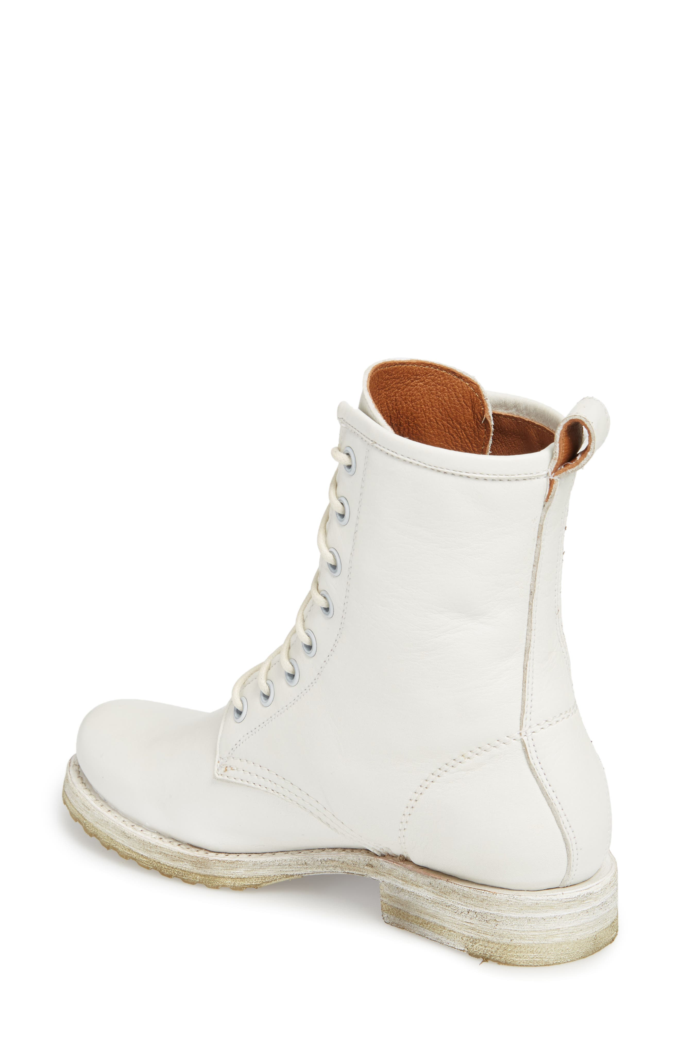 'Veronica Combat' Boot,                             Alternate thumbnail 2, color,                             WHITE LEATHER
