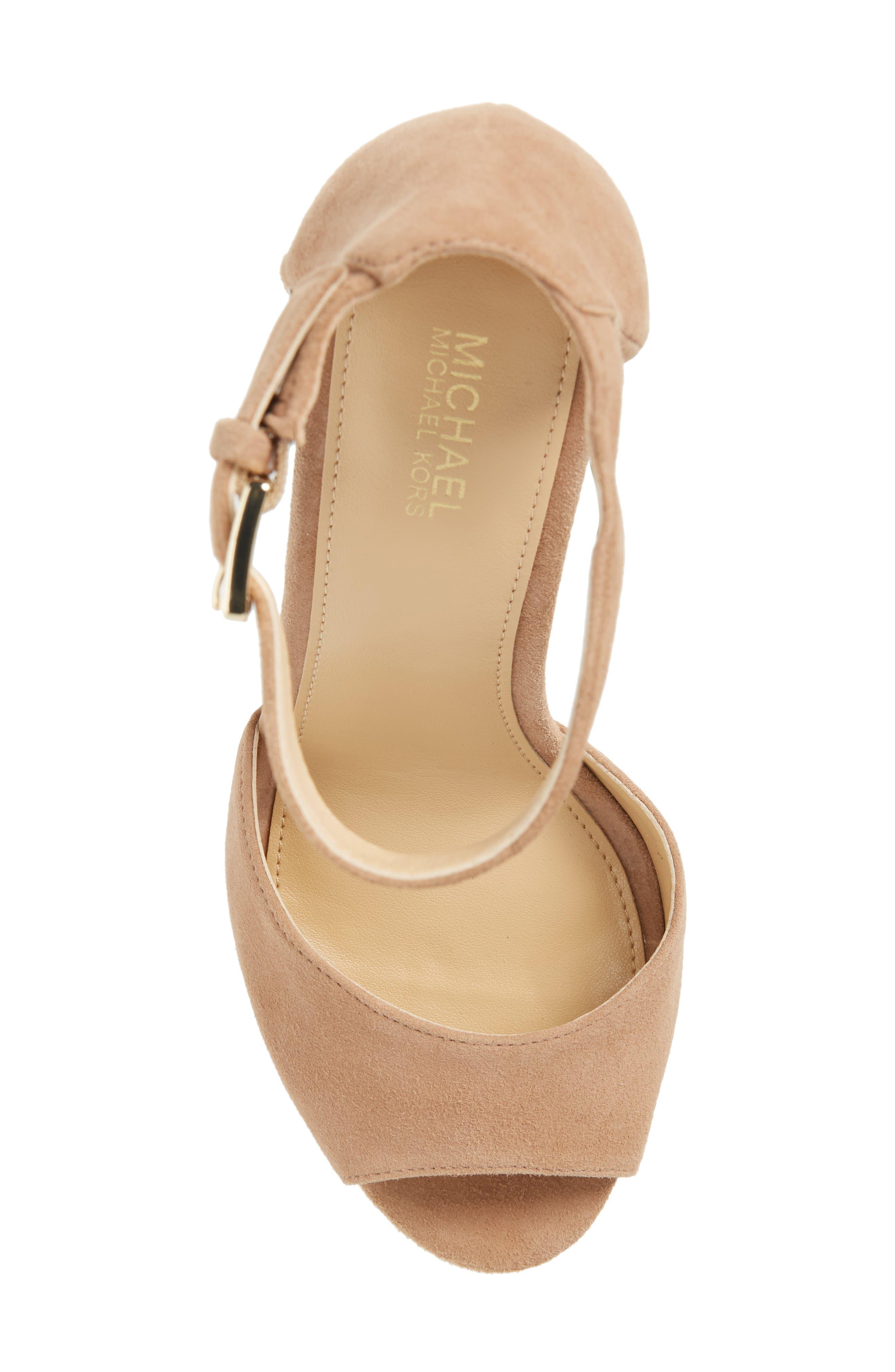 Paloma Metallic Heel Platform Sandal,                             Alternate thumbnail 5, color,                             DARK KHAKI