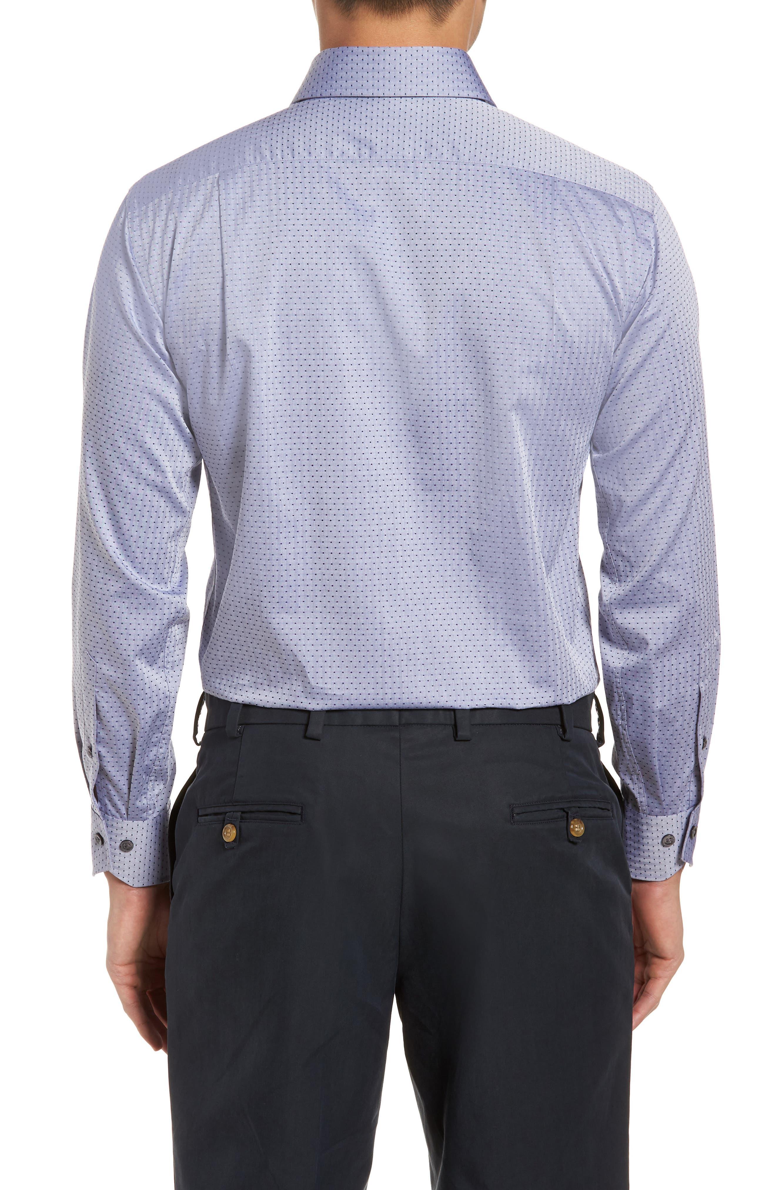 Pin Dot Dress Shirt,                             Alternate thumbnail 3, color,                             NAVY/ GREY
