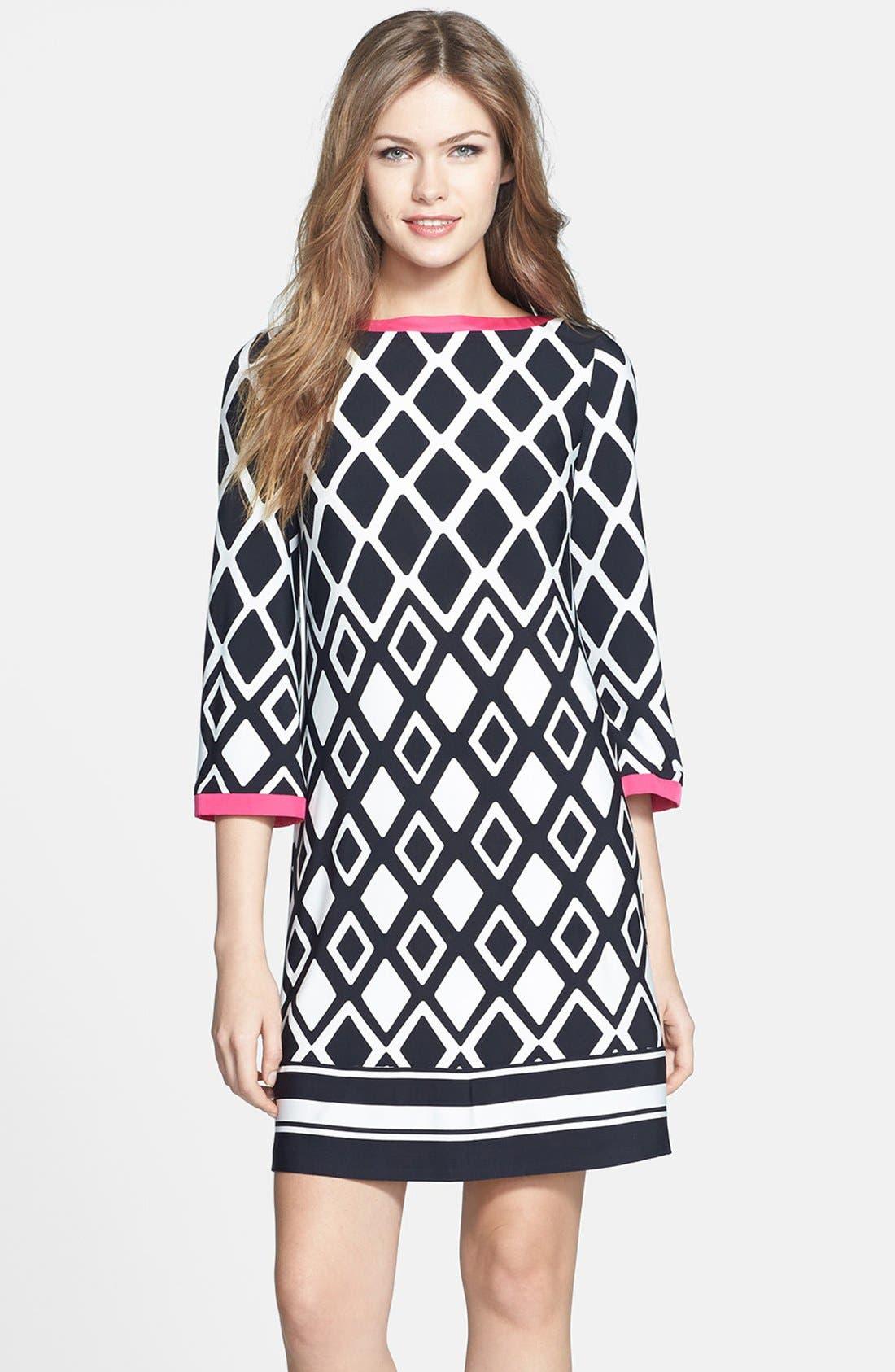 ELIZA J Print Stretch Jersey Shift Dress, Main, color, 001