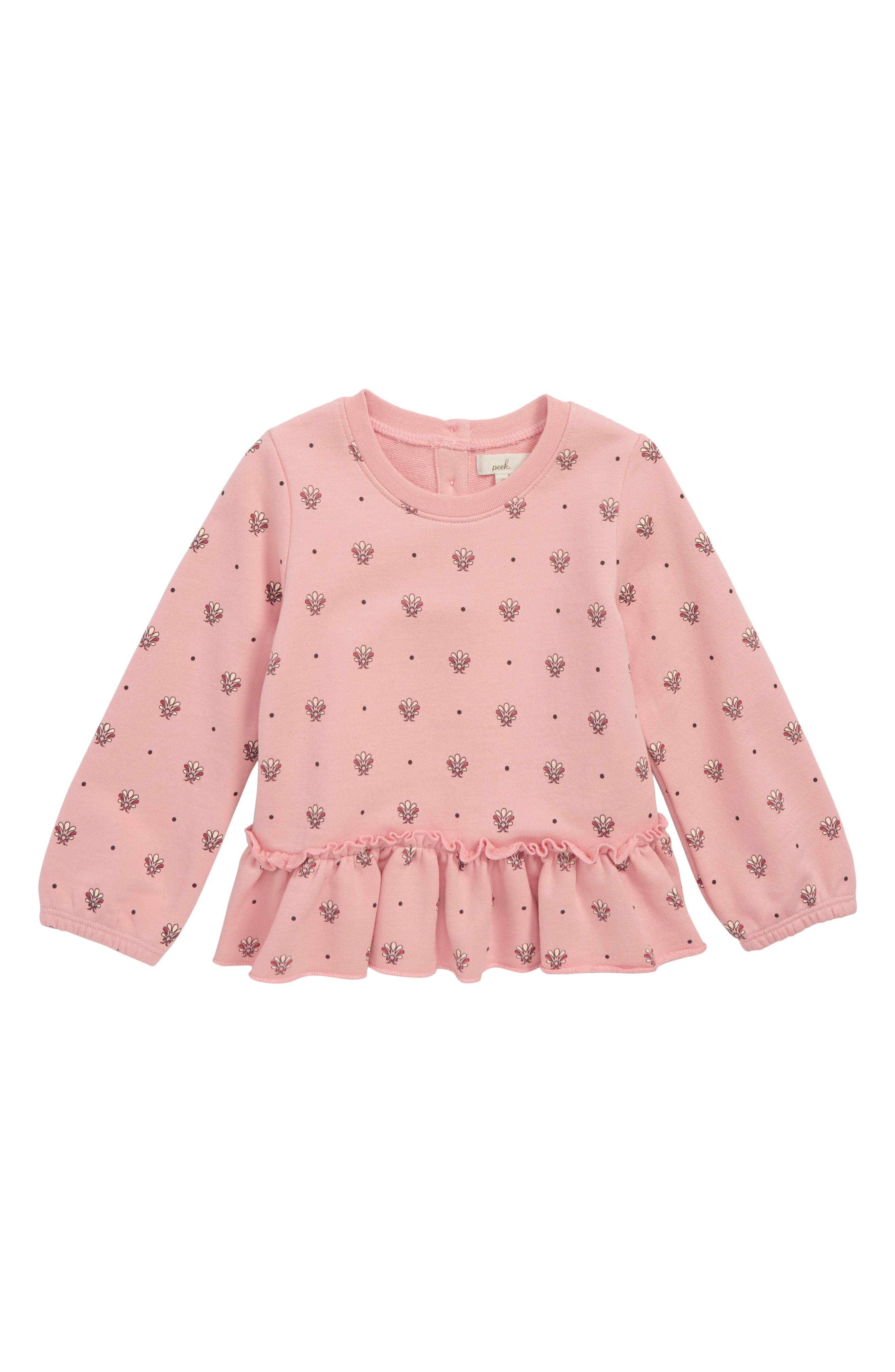 Peek Gwen Ruffle Hem Sweatshirt,                         Main,                         color, ROSE