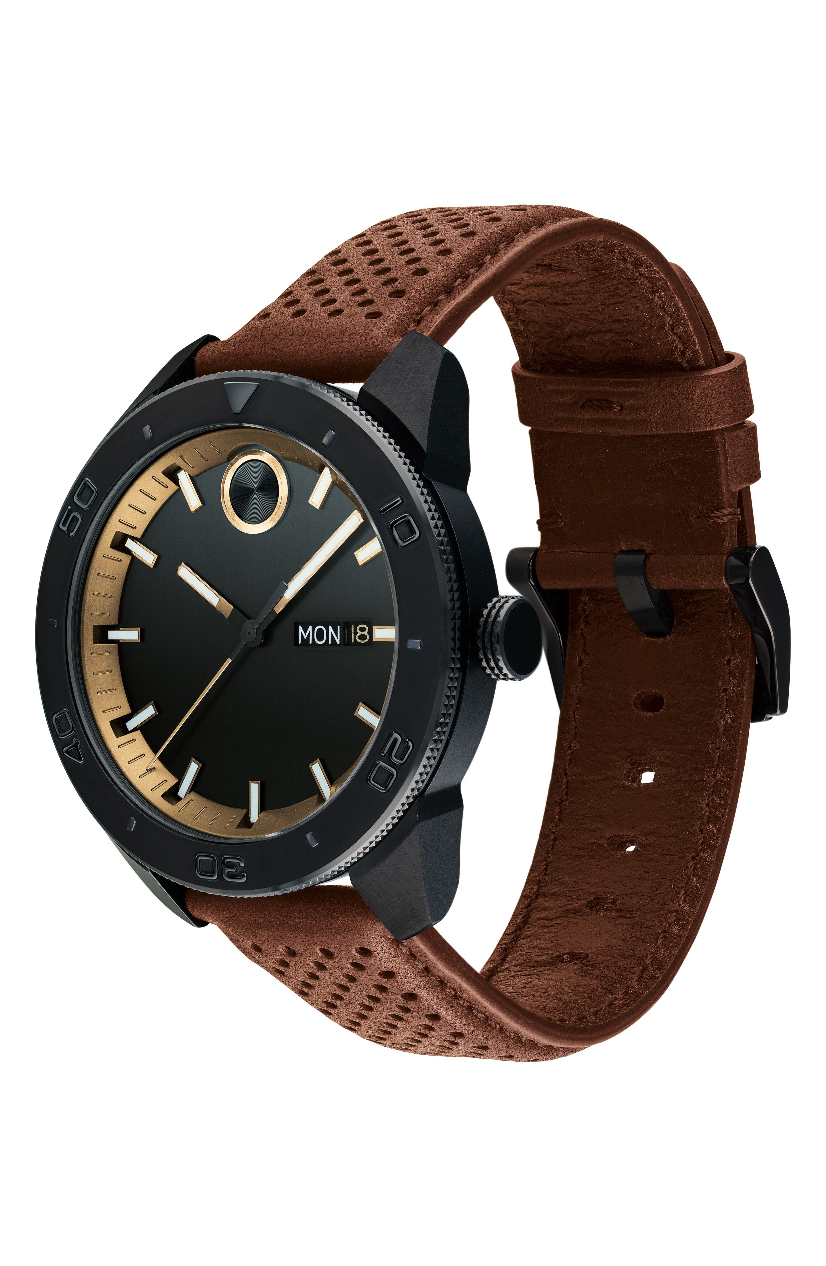 MOVADO,                             Bold Metals Sport Leather Strap Watch, 43mm,                             Alternate thumbnail 3, color,                             BROWN/ BLACK/ GOLD