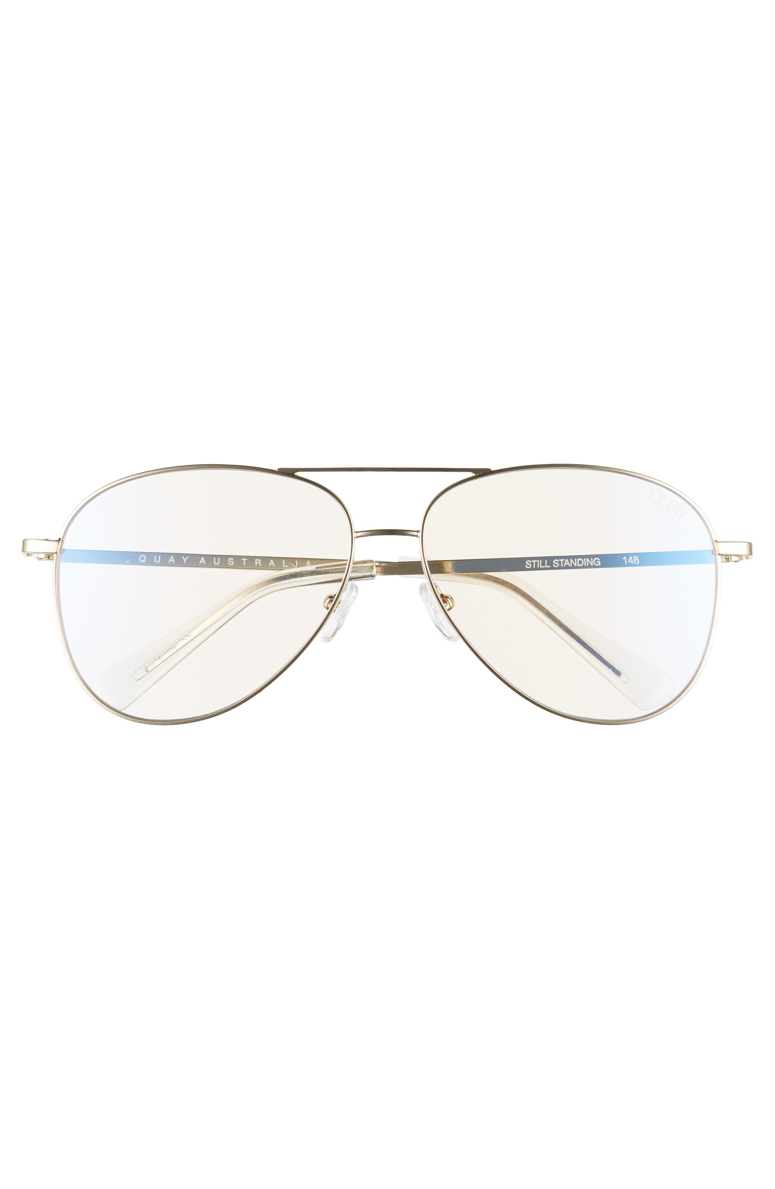 Still Standing 58mm Aviator Fashion Glasses,                             Alternate thumbnail 3, color,                             GOLD / CLEAR BLUE LIGHT