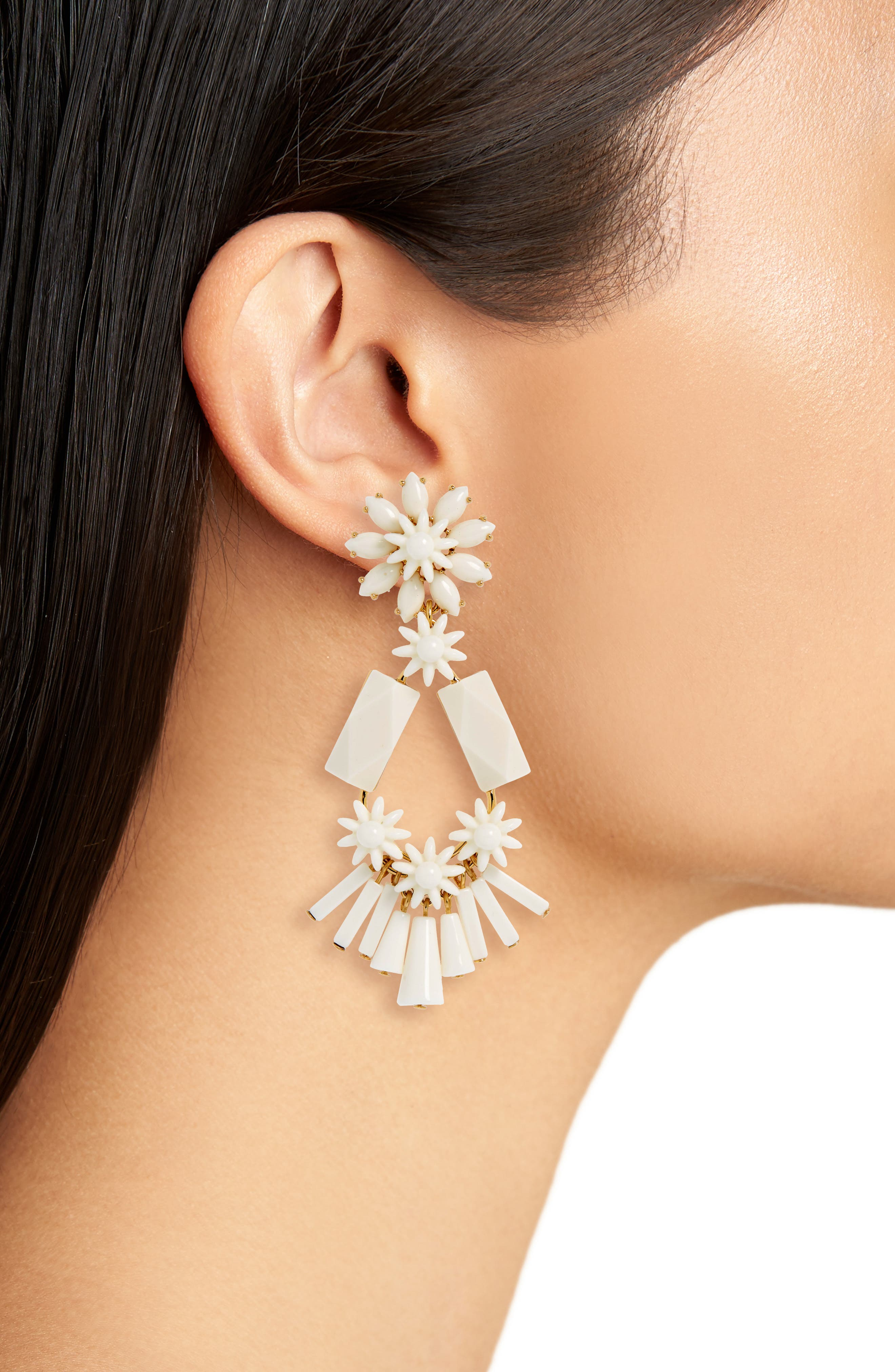 Flower & Bead Chandelier Earrings,                             Alternate thumbnail 4, color,