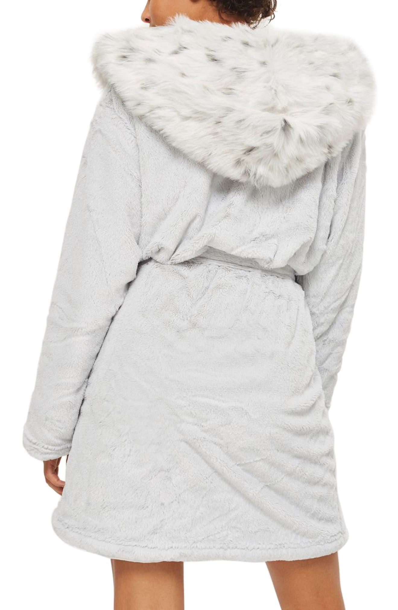 Faux Fur Hooded Short Robe,                             Alternate thumbnail 2, color,                             020