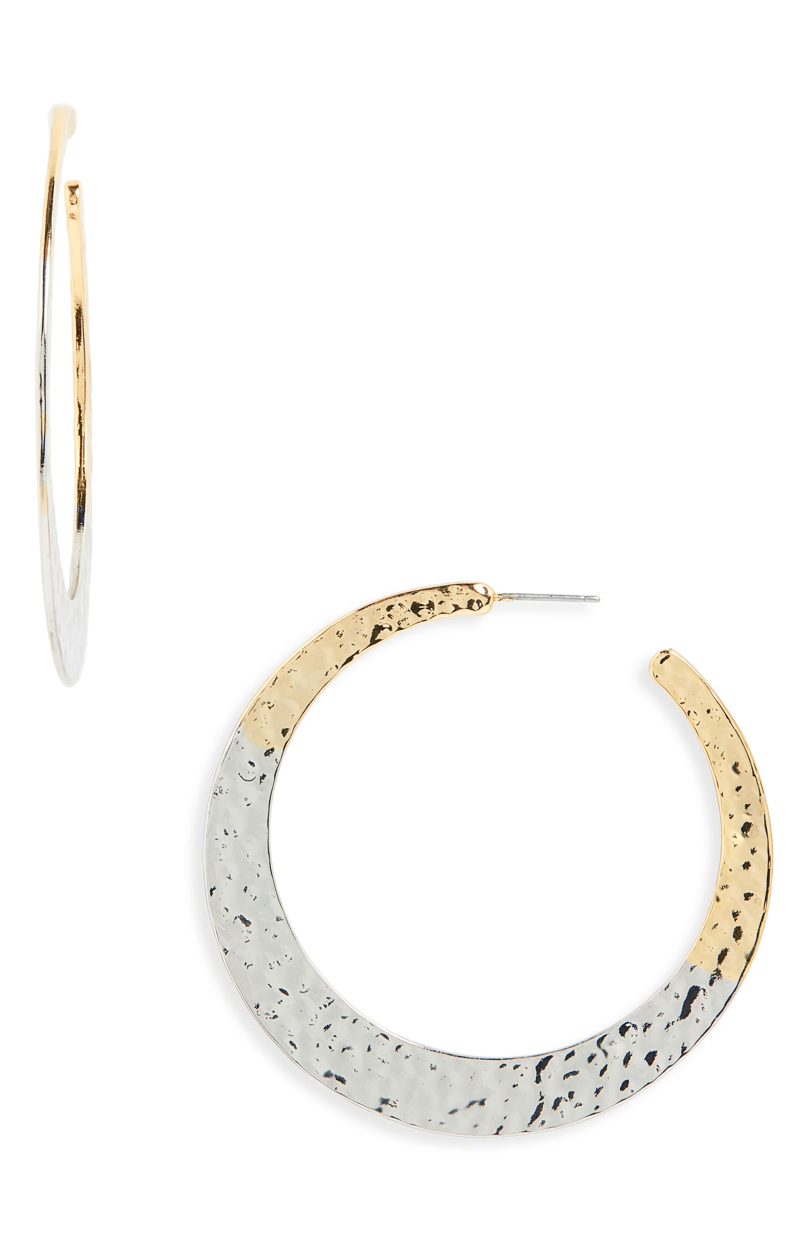 STELLA + RUBY Mixed Finish Hammered Hoop Earrings in Gold/ Silver