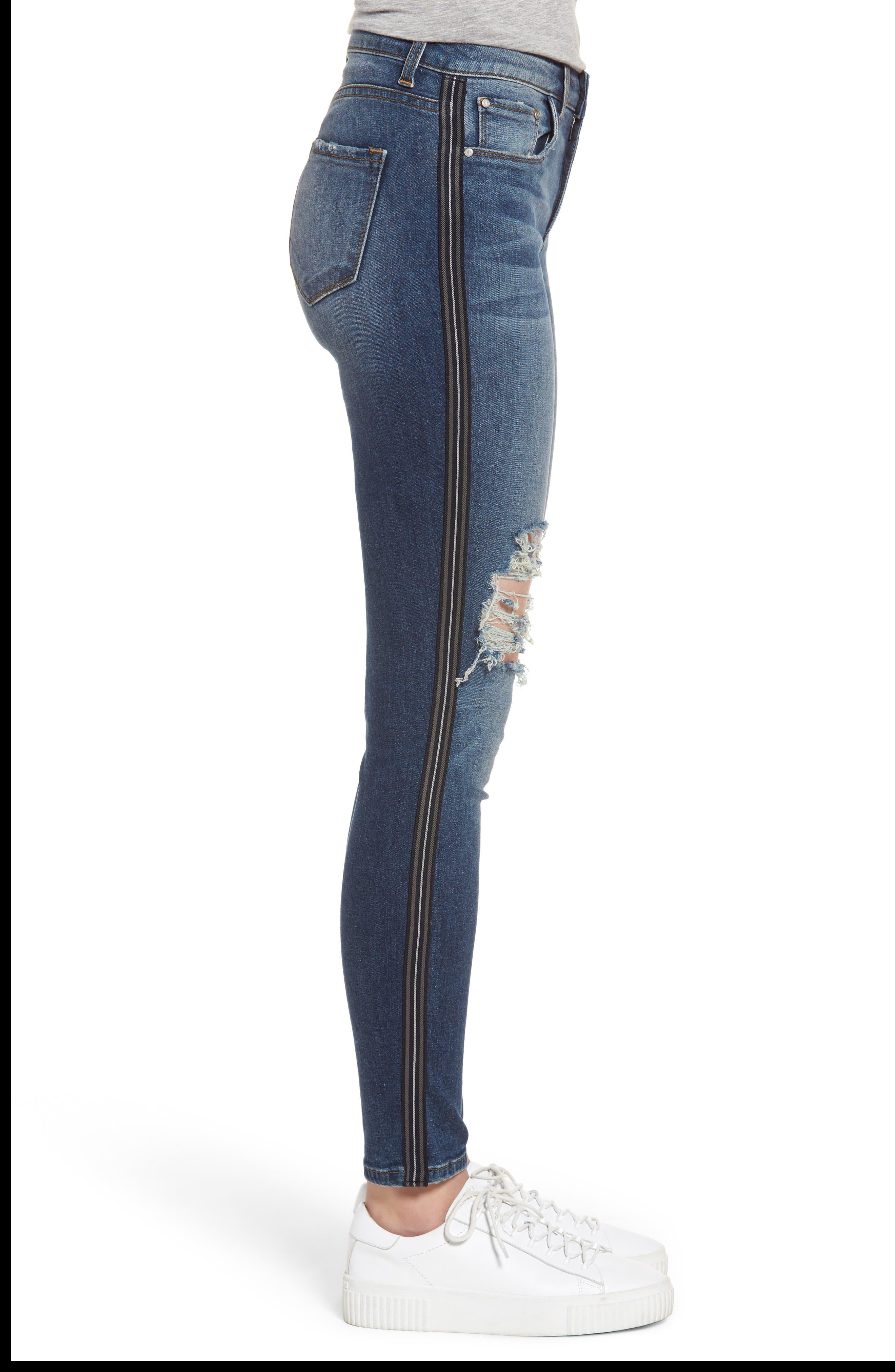 Tuxedo Stripe Ripped Skinny Jeans,                             Alternate thumbnail 3, color,                             400