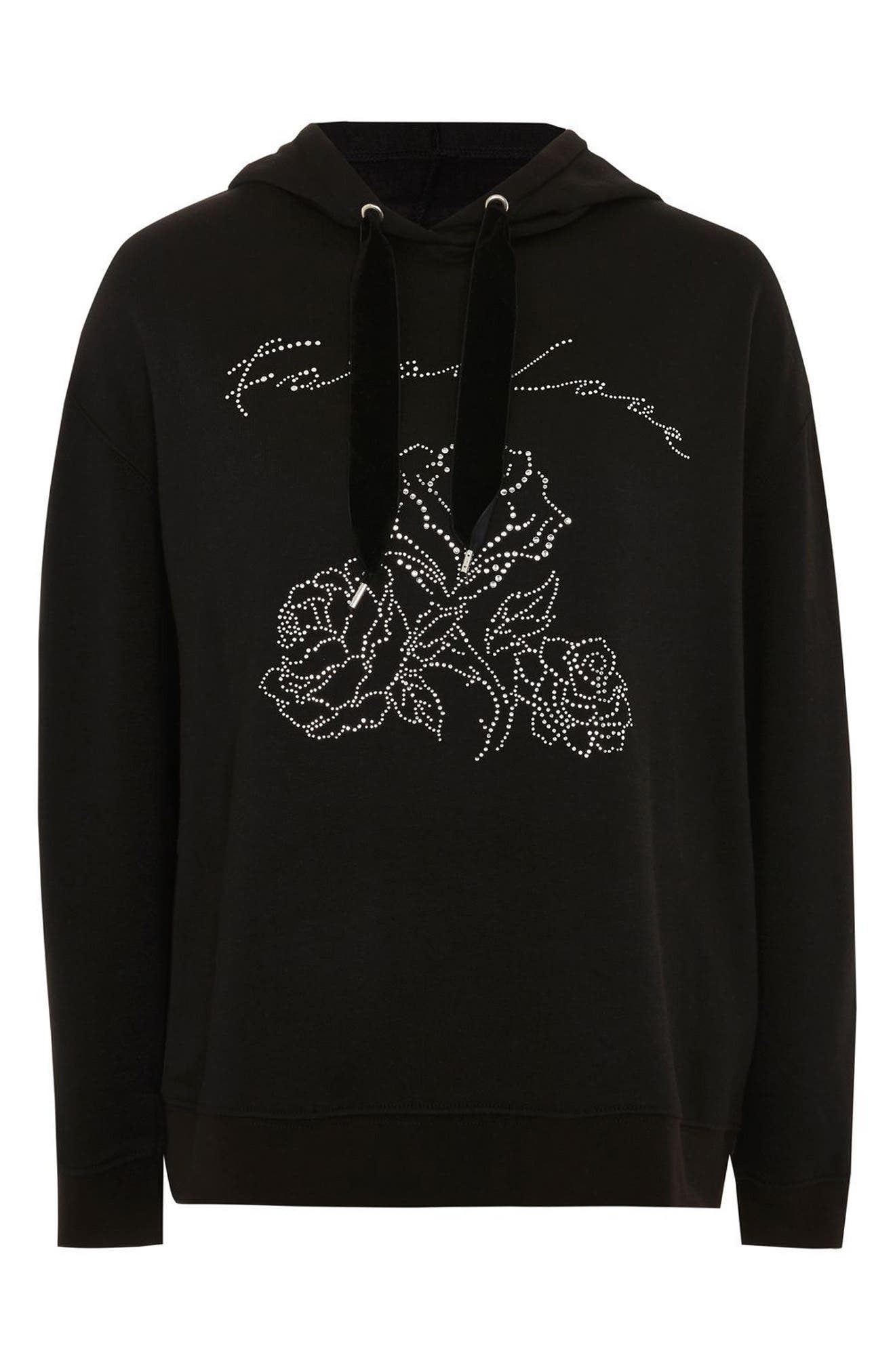Fatal Love Embellished Hoodie,                             Alternate thumbnail 4, color,                             001
