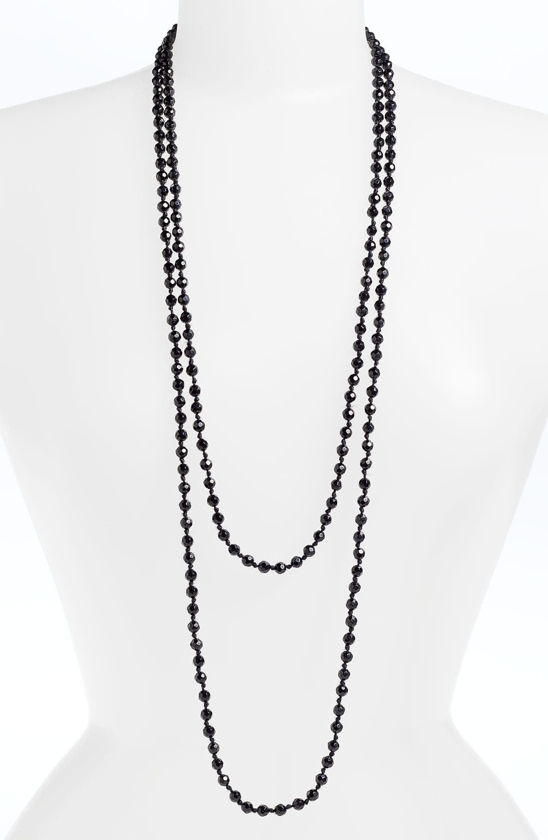 6mm Glass Pearl Extra Long Strand Necklace,                             Alternate thumbnail 4, color,                             001