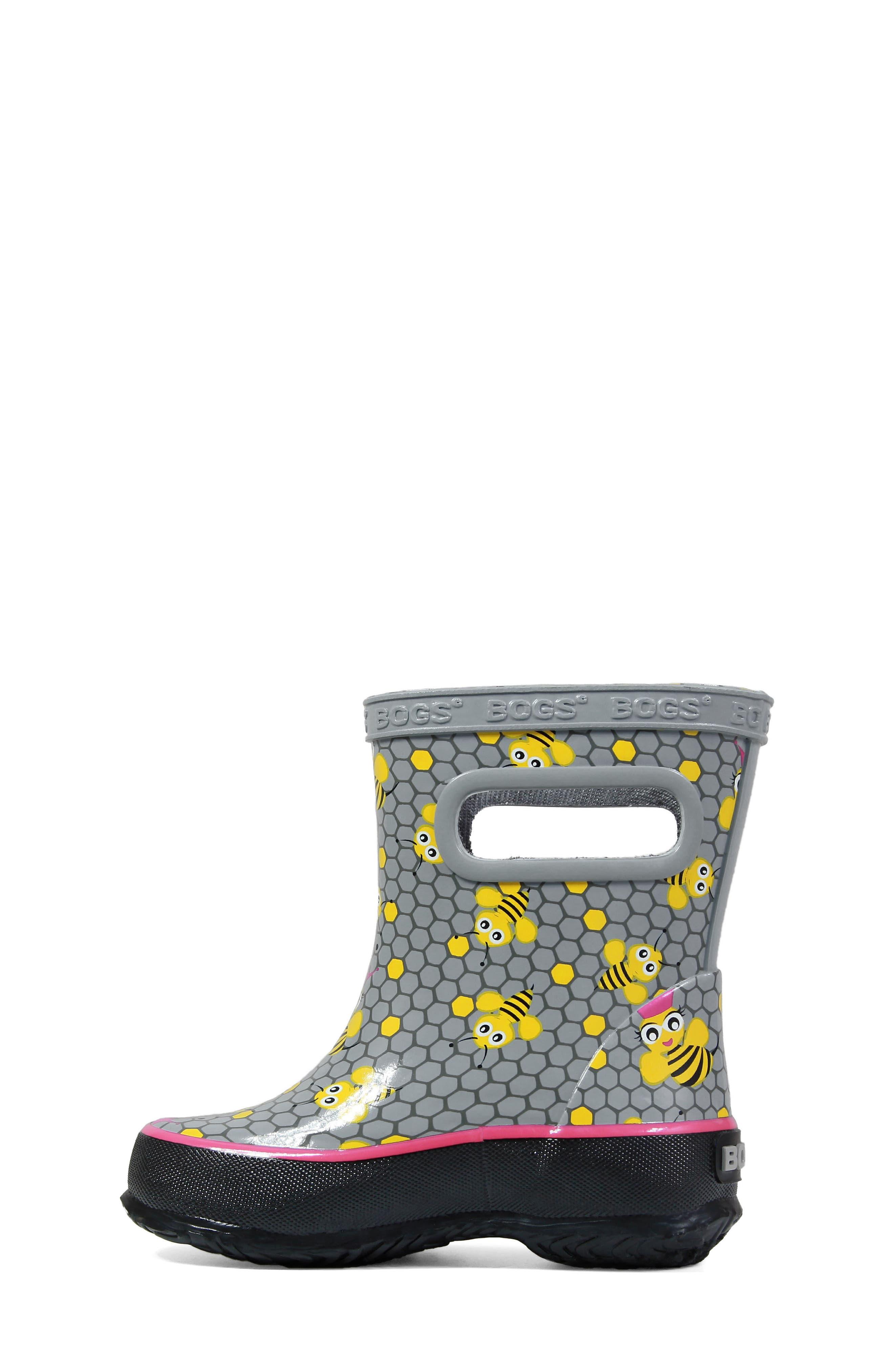Skipper Bees Rubber Rain Boot,                             Alternate thumbnail 3, color,                             GRAY MULTI