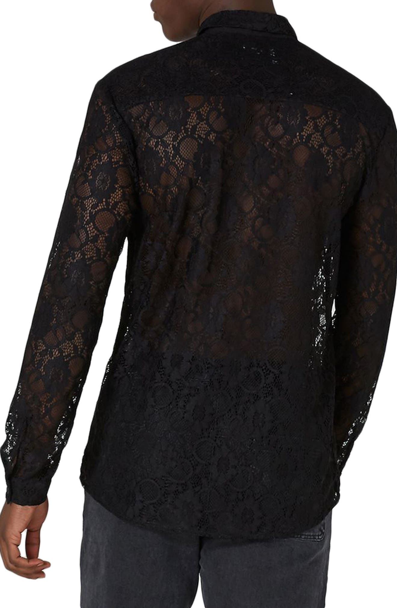 Muscle Fit Sheer Lace Shirt,                             Alternate thumbnail 2, color,                             001
