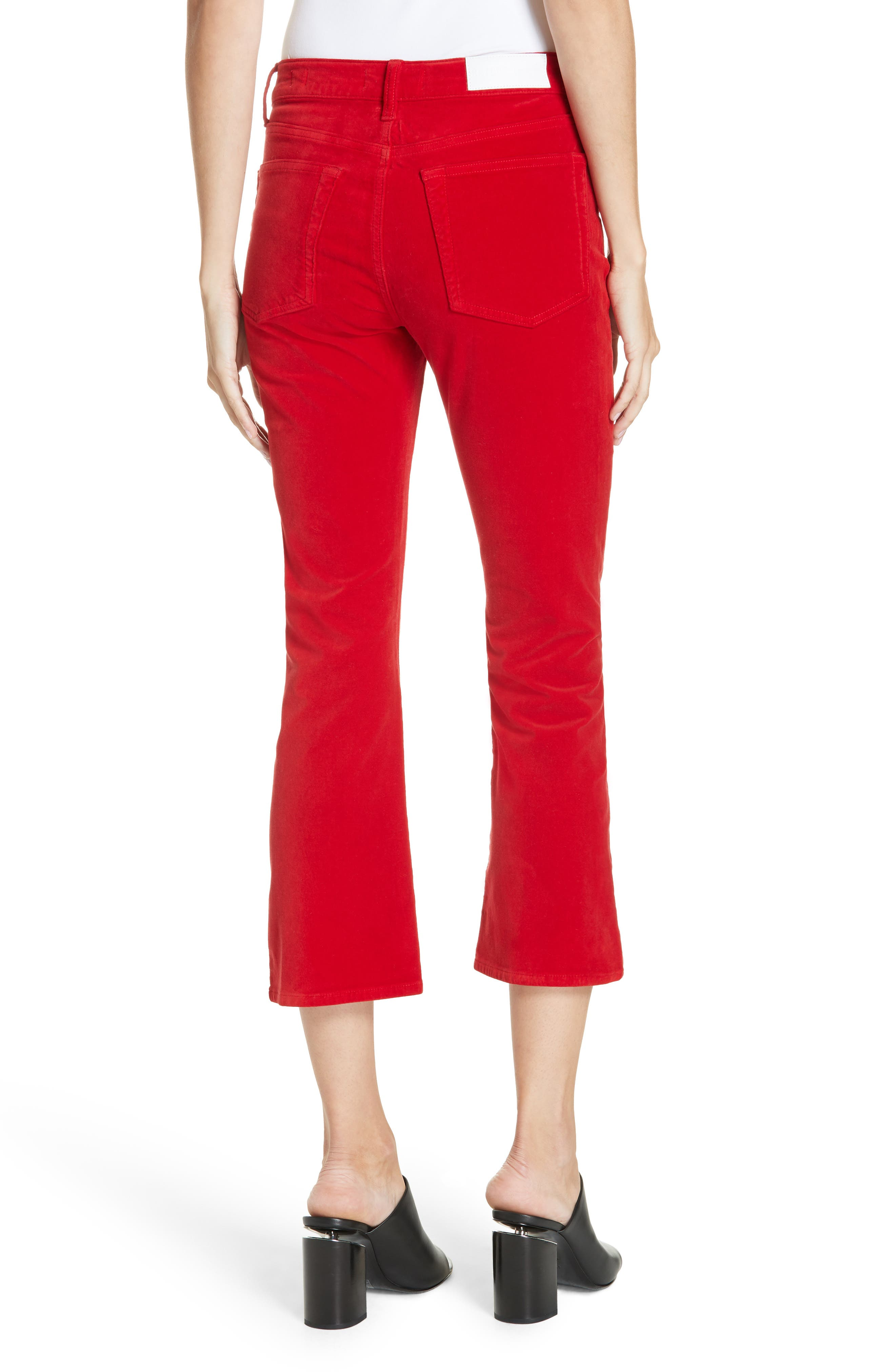 Velvet Crop Kick Flare Jeans,                             Alternate thumbnail 2, color,                             RED