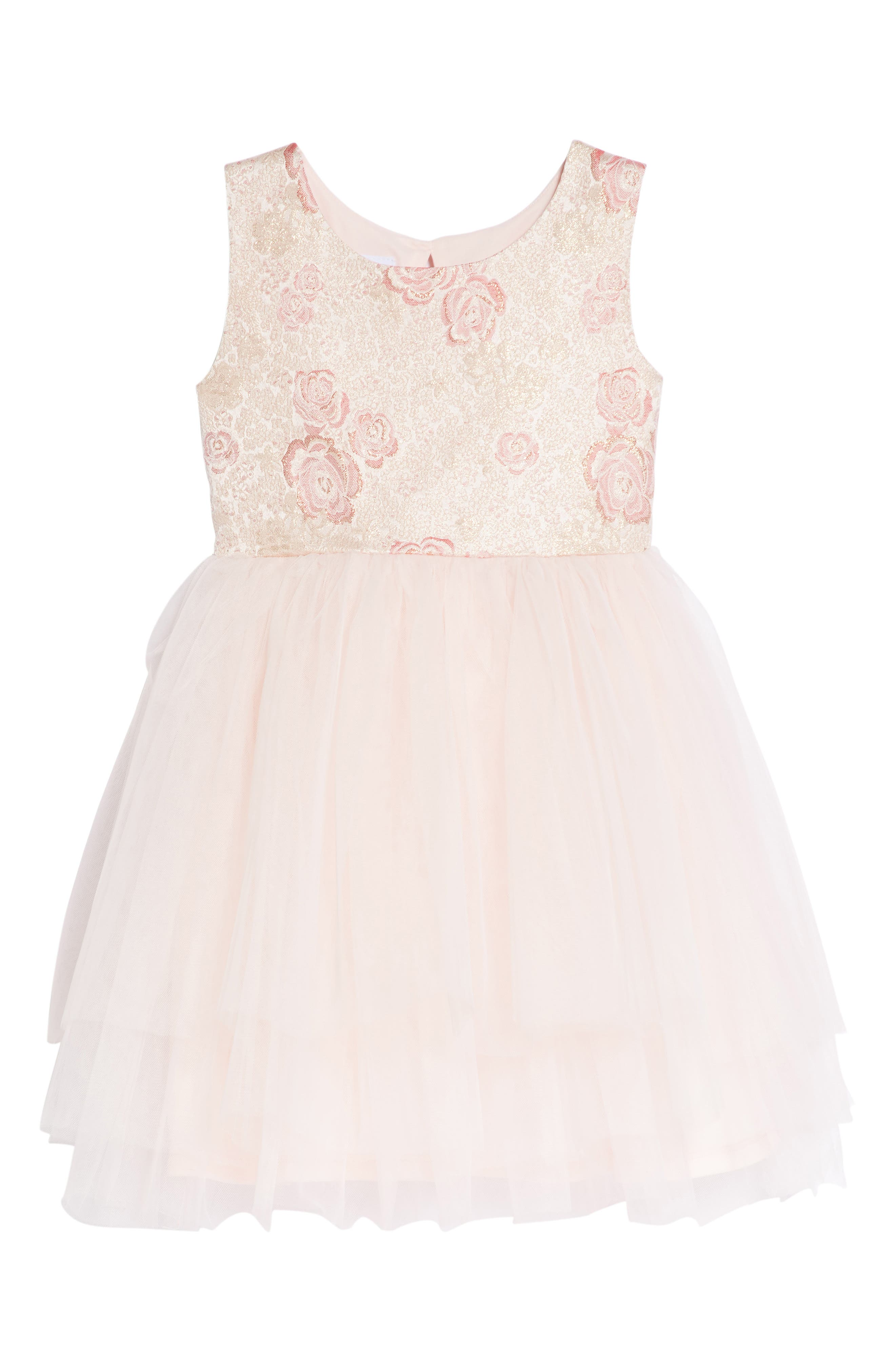 Rose Jacquard Fit & Flare Dress,                         Main,                         color, 650