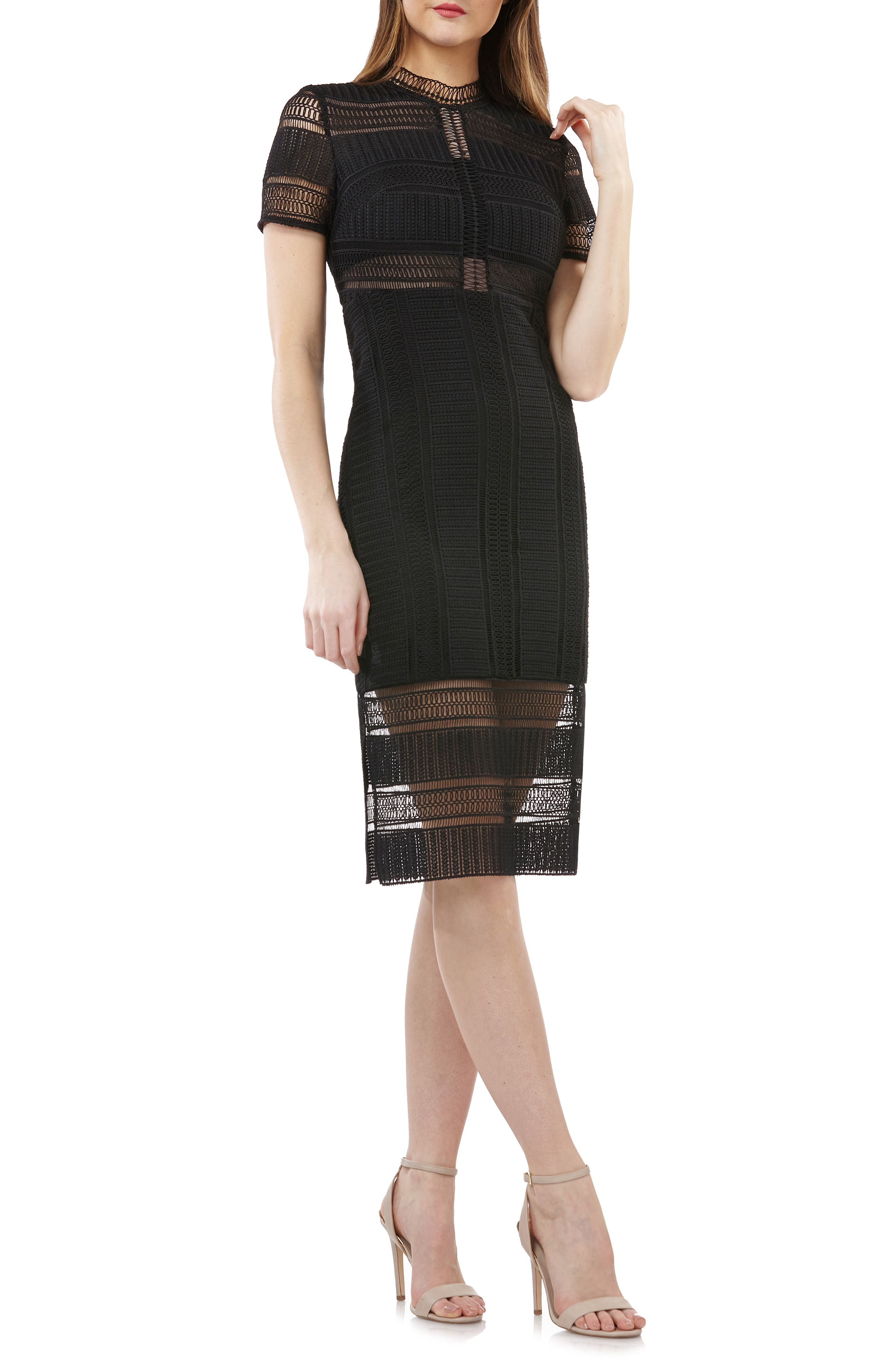 Js Collections Graphic Lace Body-Con Cocktail Dress, Black