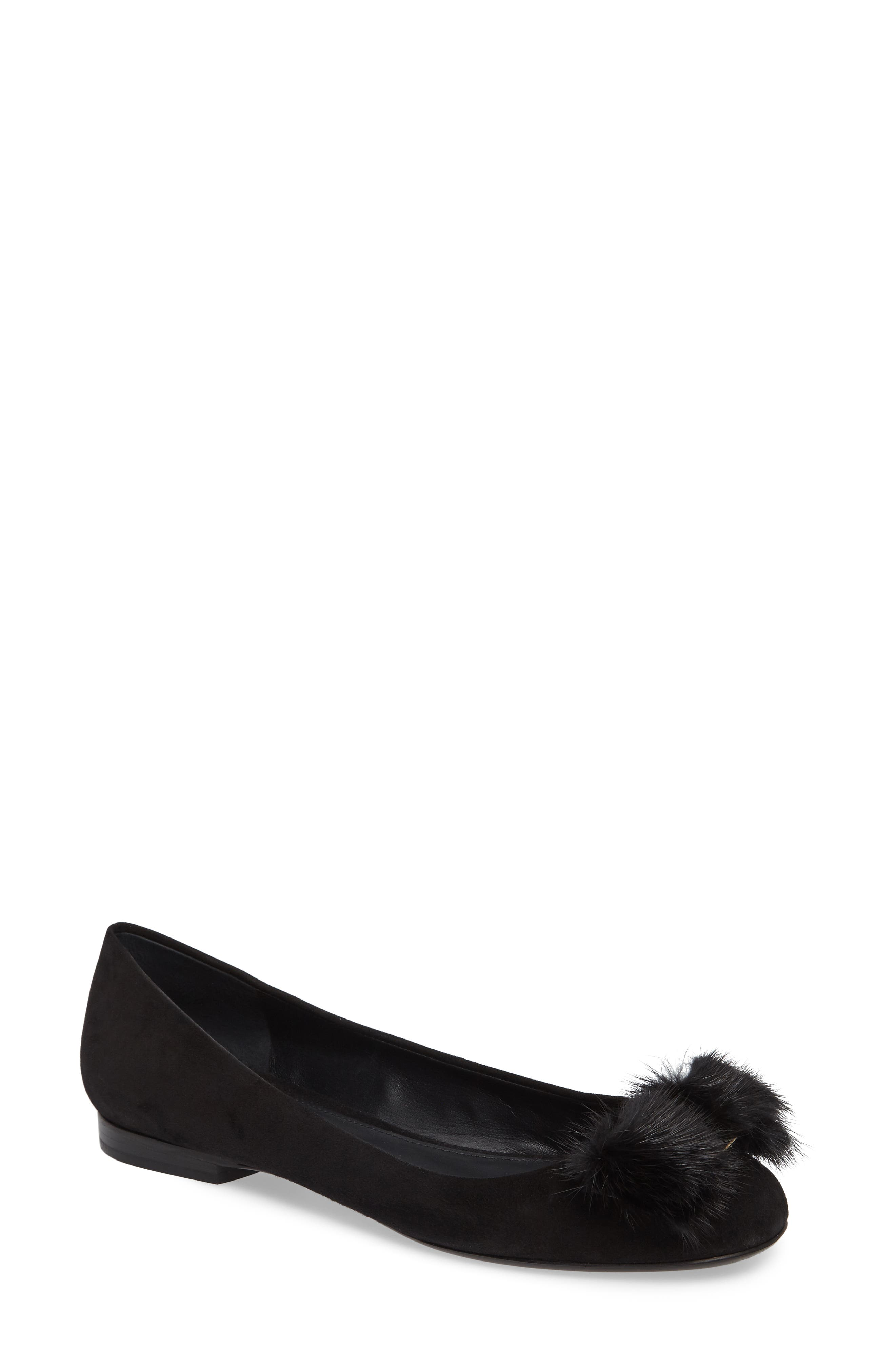 Genuine Mink Fur Flat,                         Main,                         color, 001