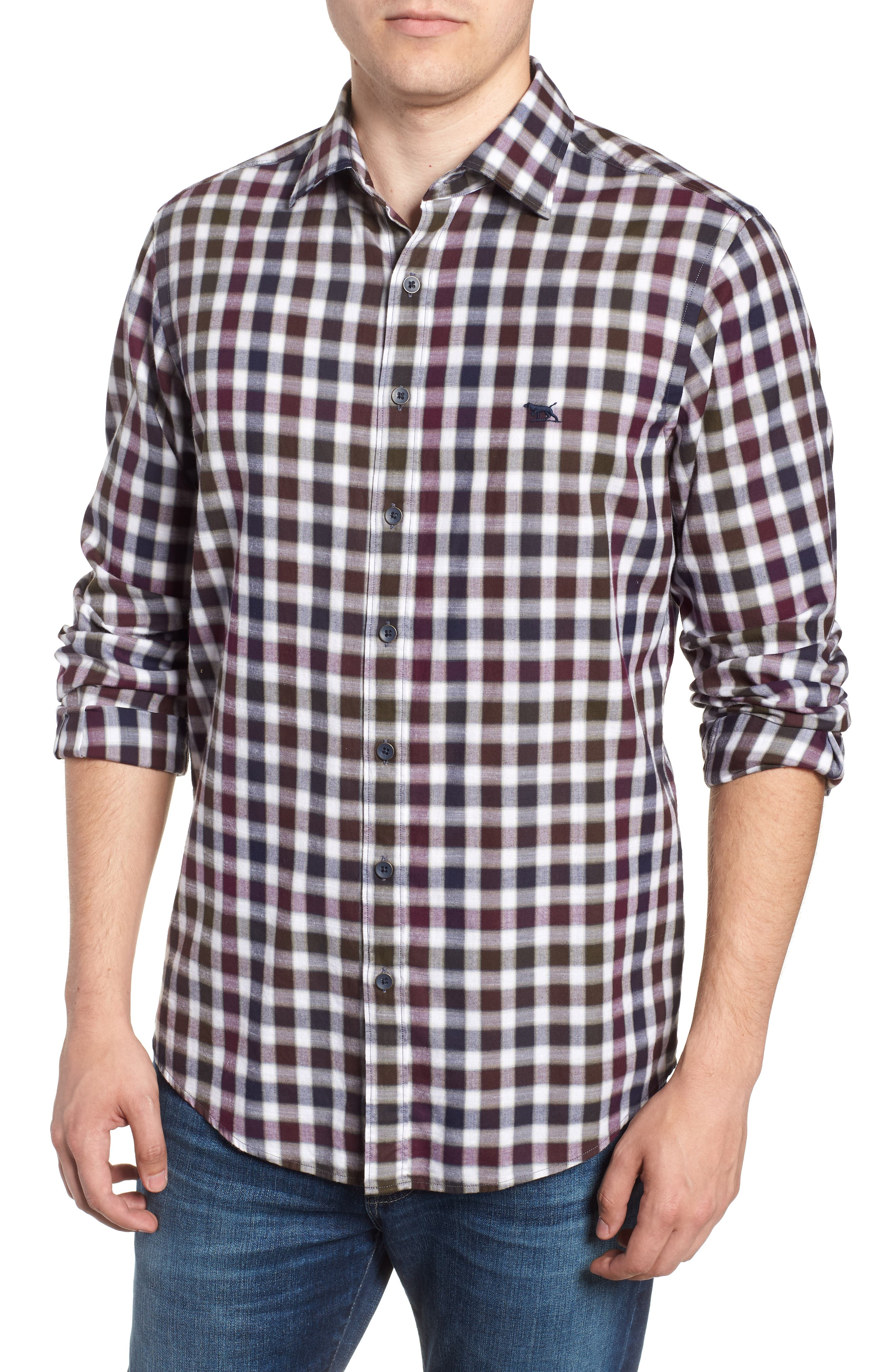 Harvest Ave Sports Fit Flannel Sport Shirt,                         Main,                         color, PORT