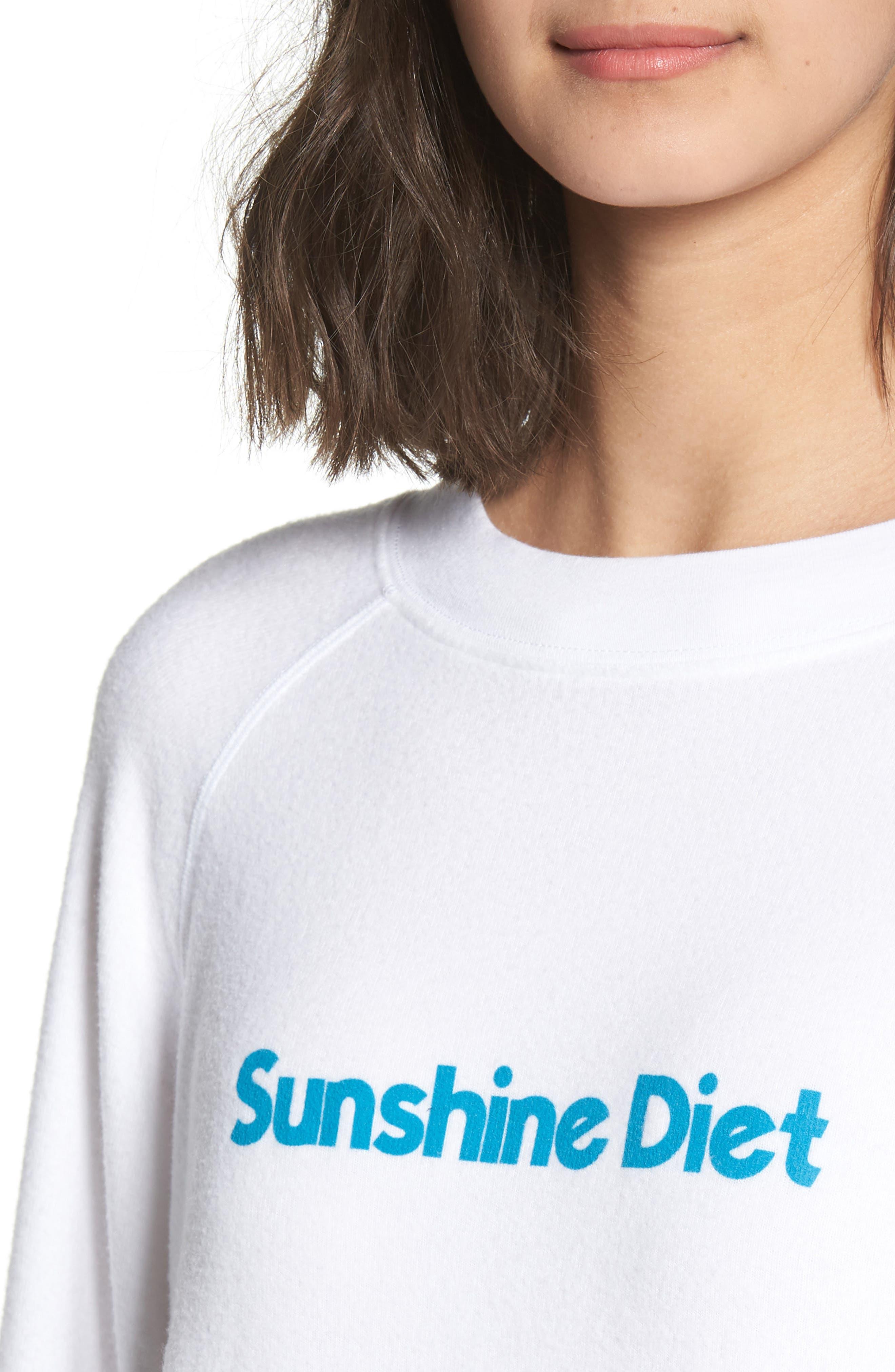 Sunshine Diet Sommers Sweatshirt,                             Alternate thumbnail 4, color,                             CLEAN WHITE